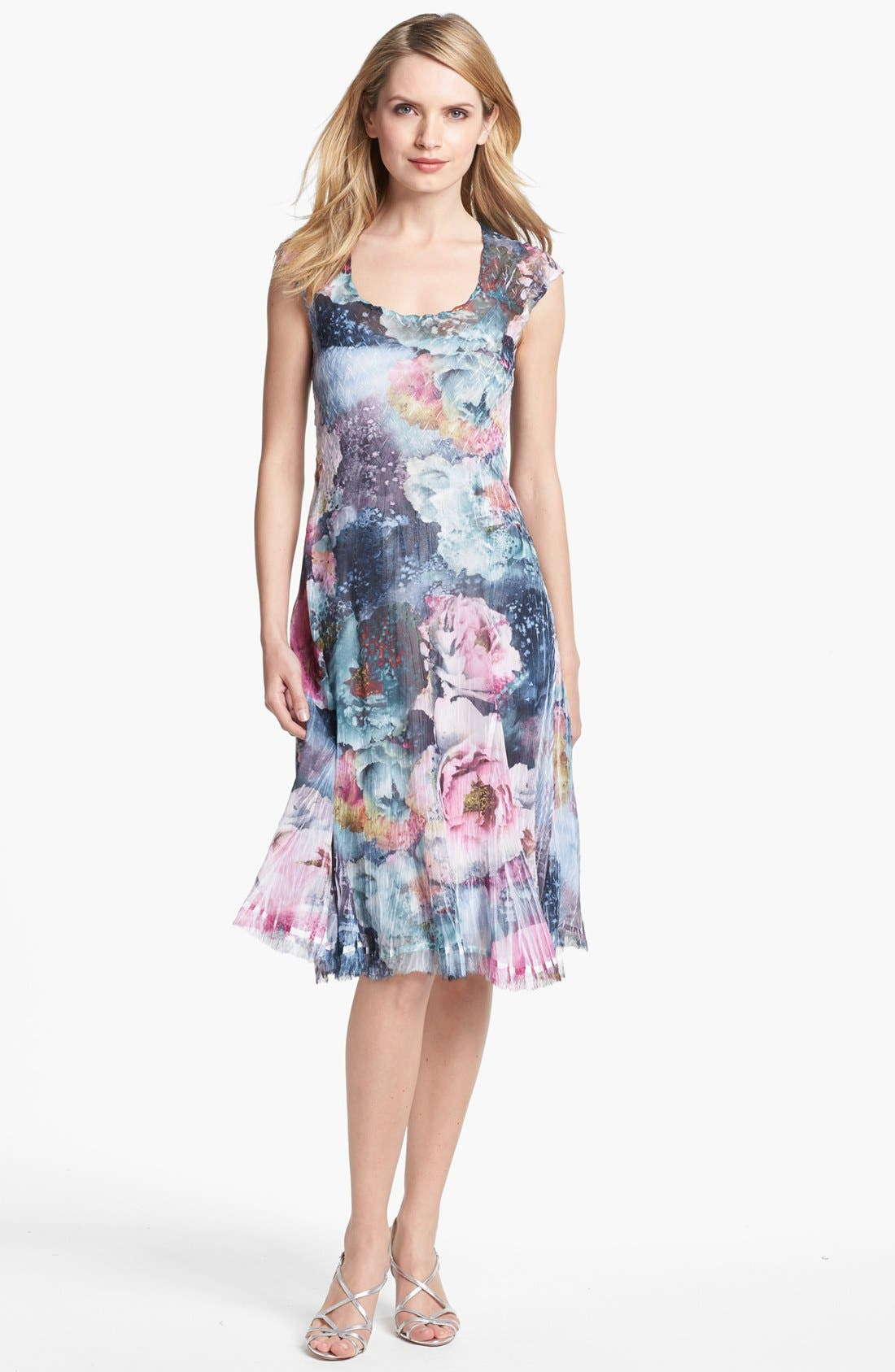Main Image - Komarov Scoop Neck Print Chiffon Dress (Petite)
