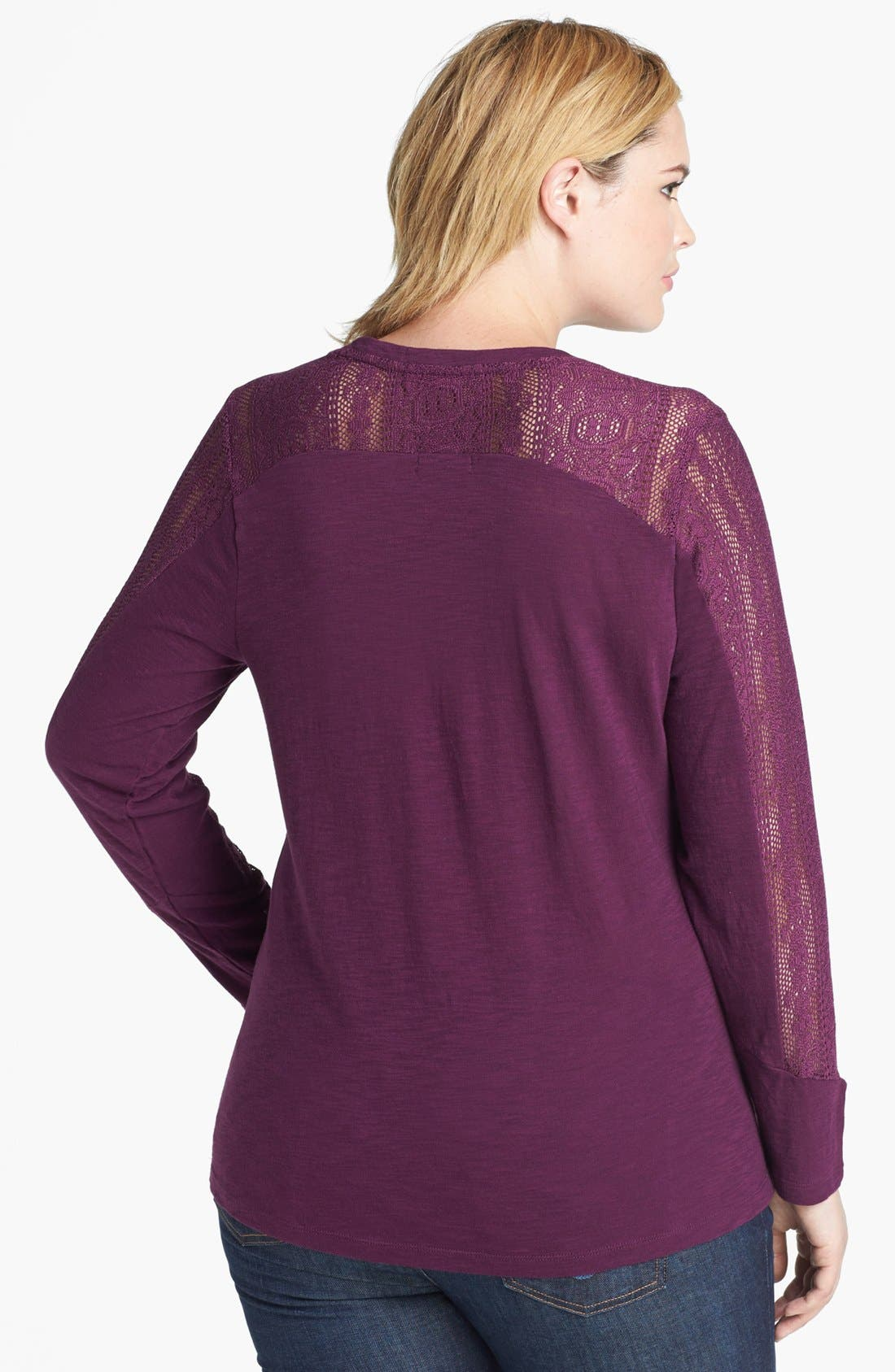 Alternate Image 2  - Lucky Brand 'Bobbi' Lace Inset Top (Plus Size)