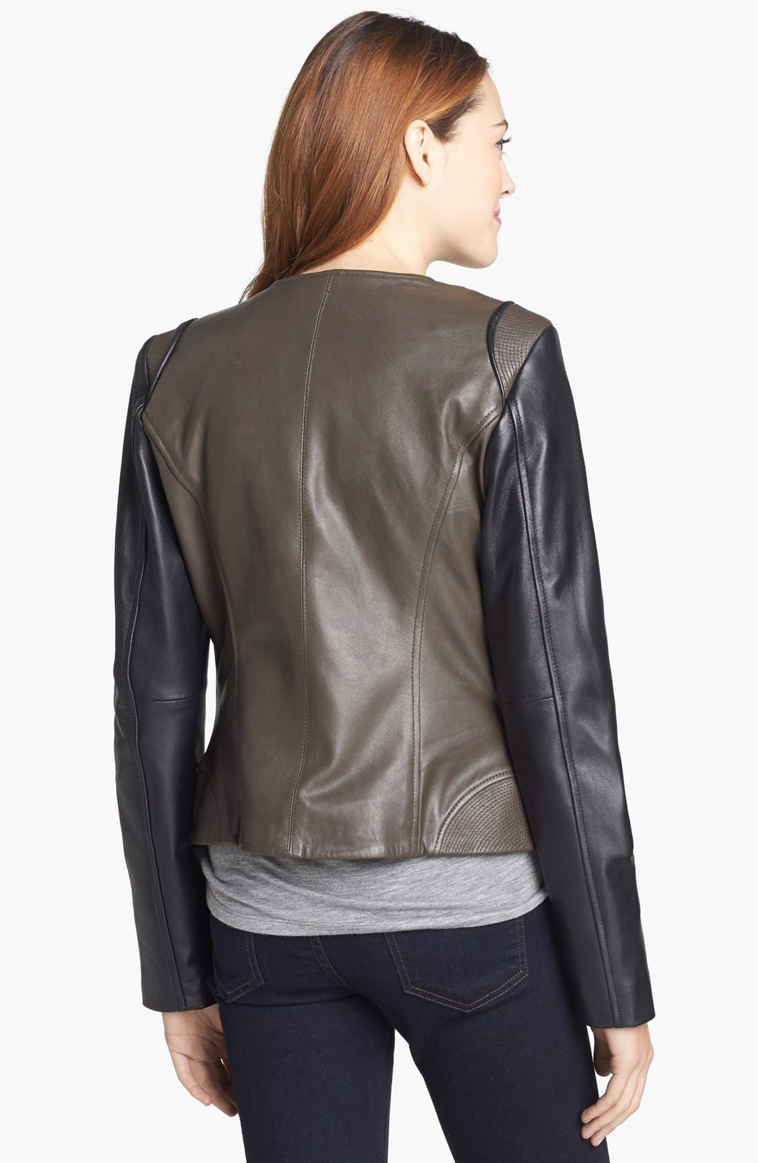 Alternate Image 2  - Vince Camuto Two-Tone Collarless Leather Moto Jacket (Online Only)