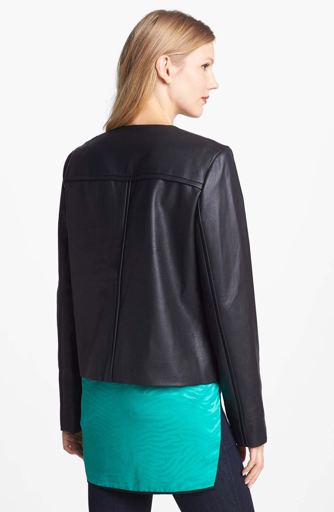 Alternate Image 2  - Vince Camuto Collarless Perforated Faux Leather Jacket
