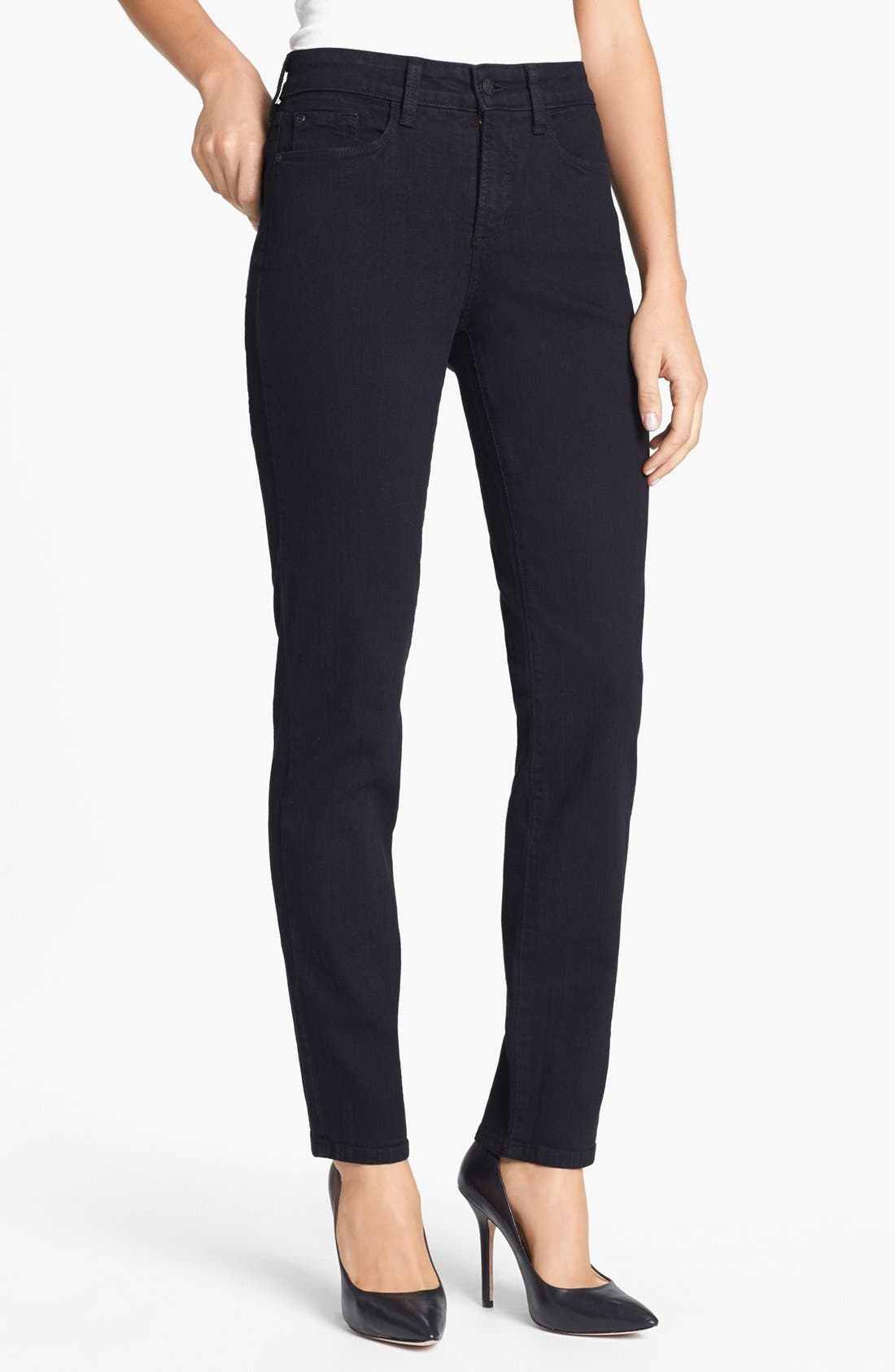 Alternate Image 1 Selected - NYDJ 'Alina' Stretch Skinny Jeans (Black)