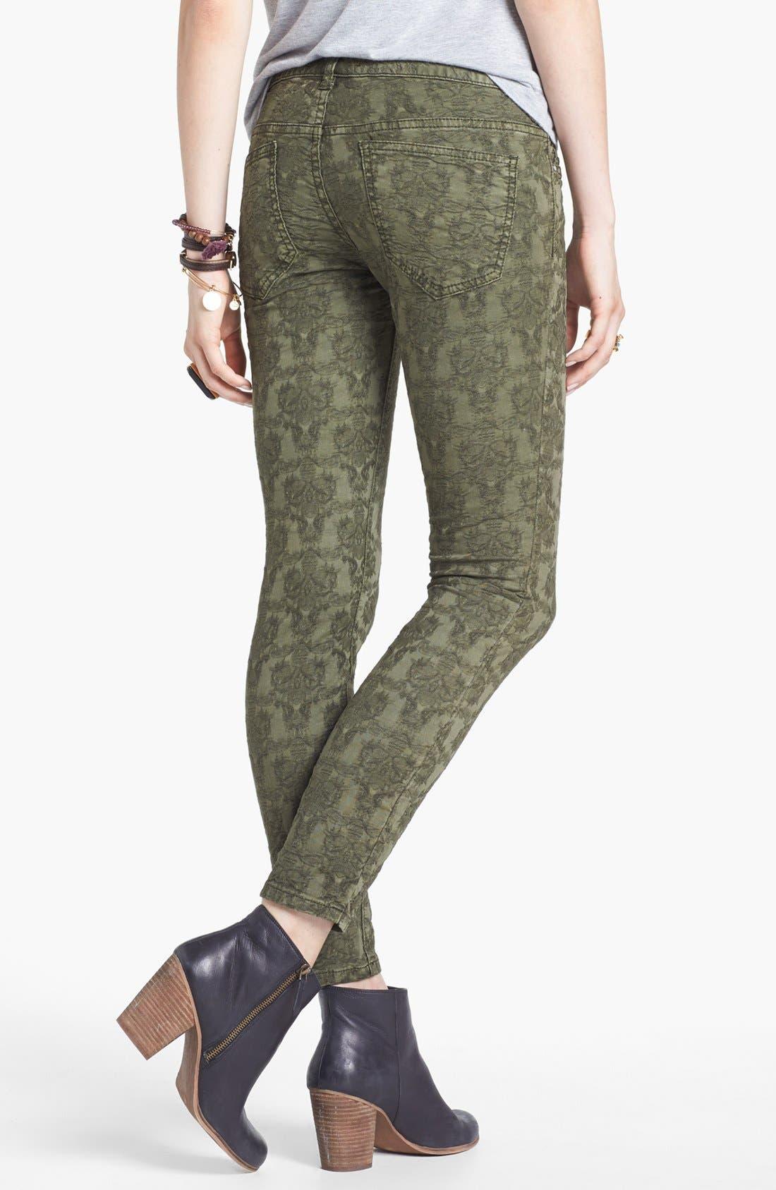 Alternate Image 2  - Free People Jacquard Skinny Jeans (Olive)