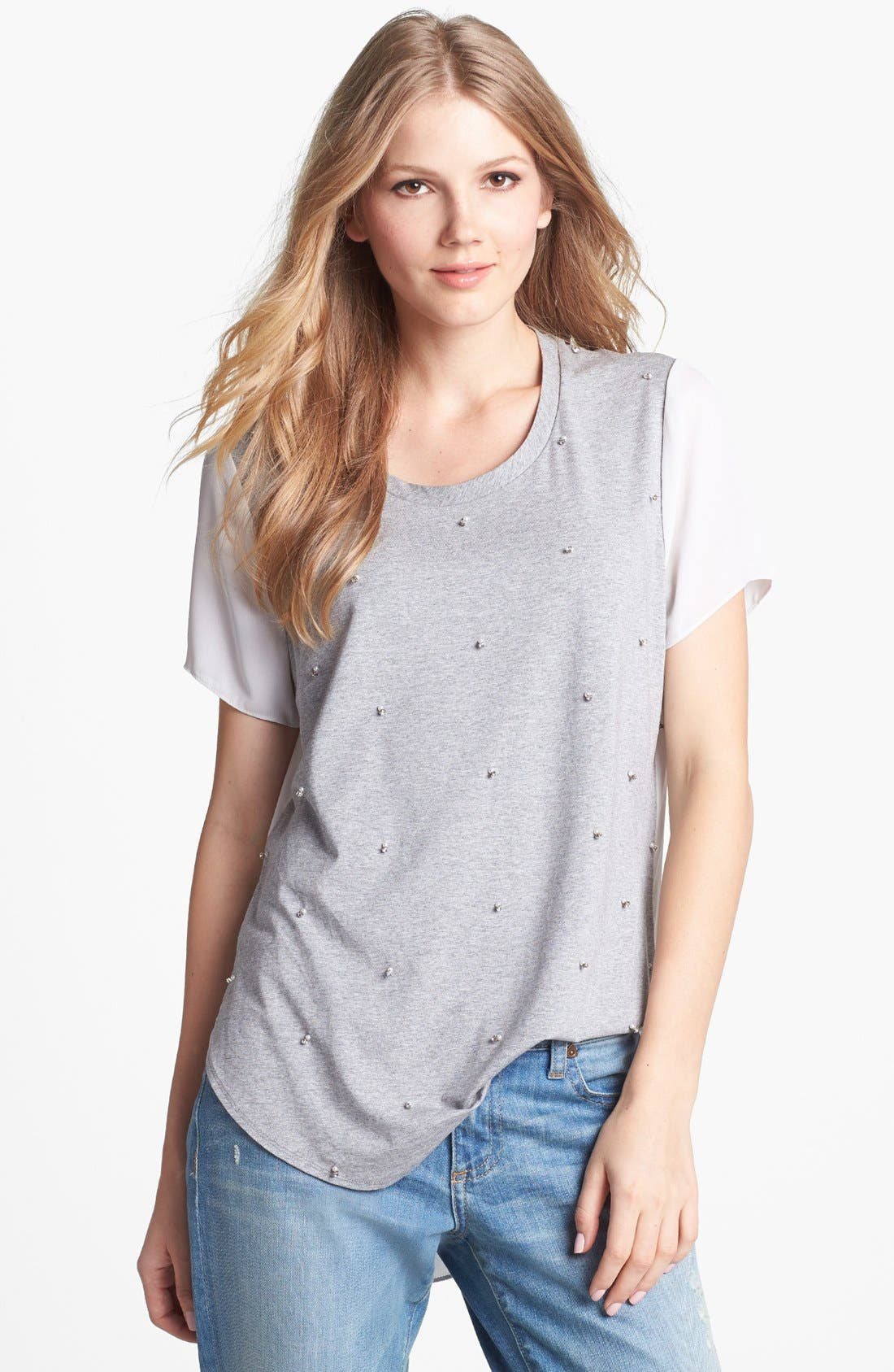 Alternate Image 1 Selected - Vince Camuto Woven Back Embellished Tee