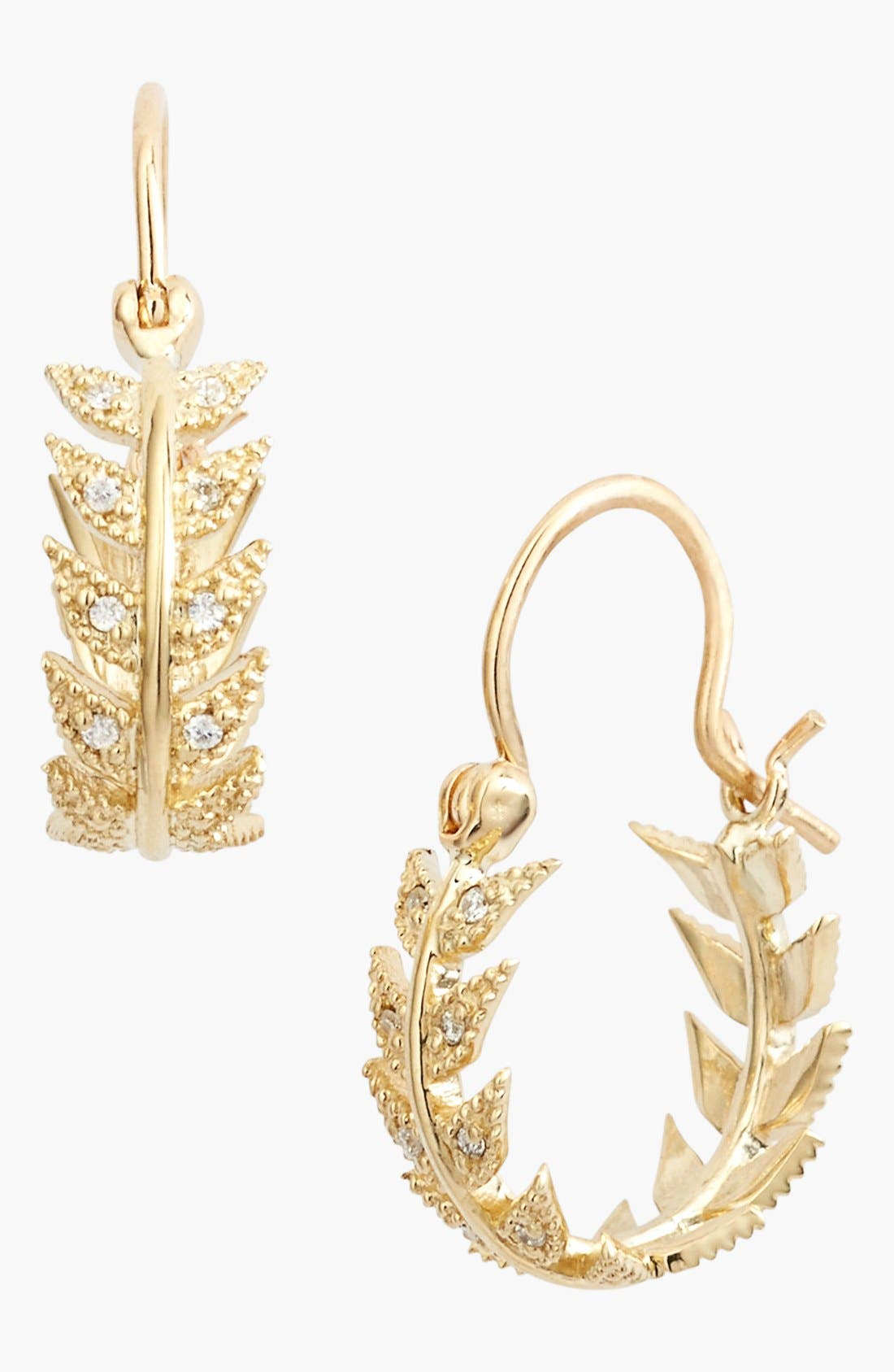 Alternate Image 1 Selected - Mizuki 'Wings of Desire' Diamond Feather Hoop Earrings