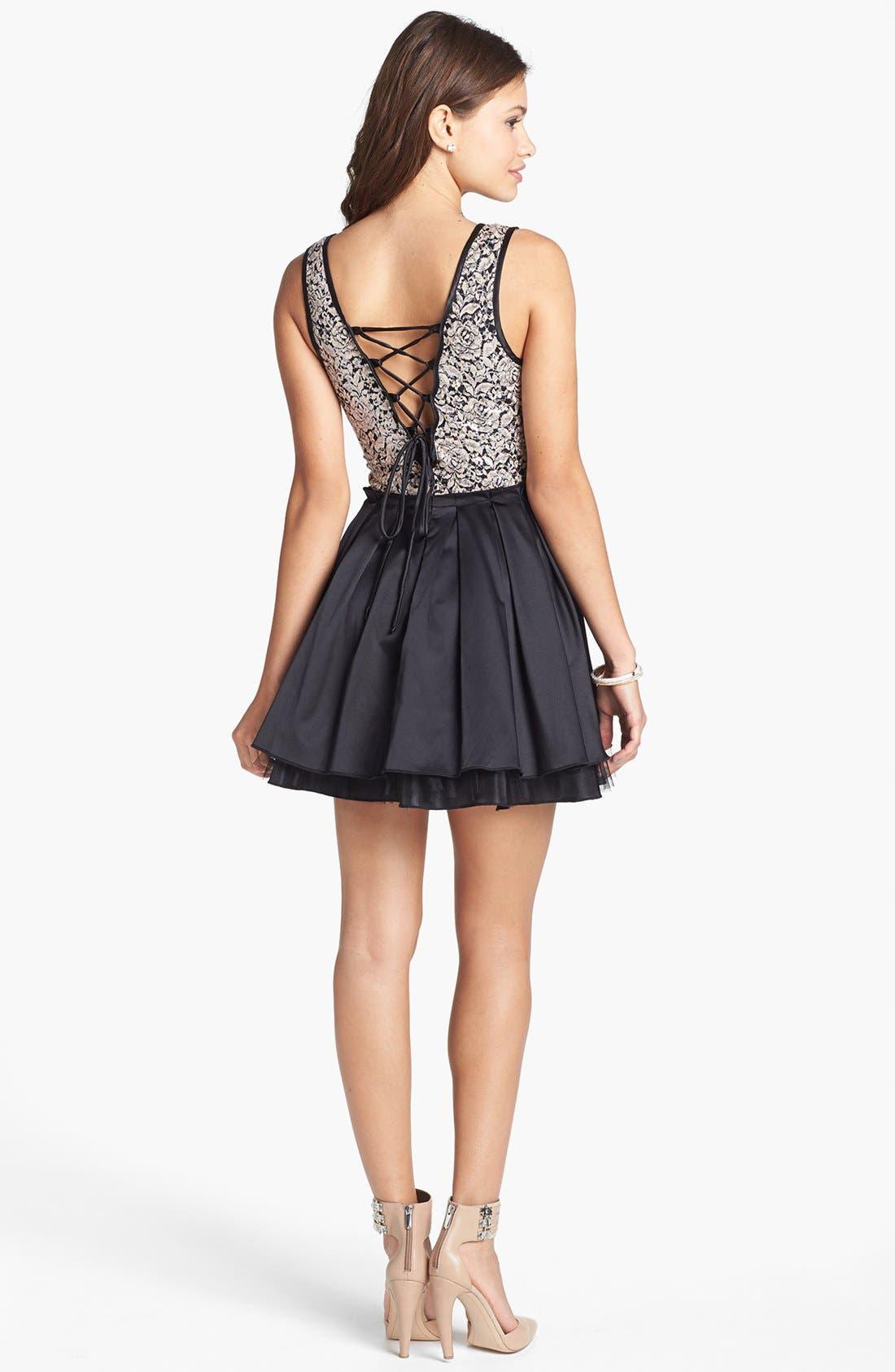 Alternate Image 2  - Trixxi Lace Bodice Skater Dress (Juniors)