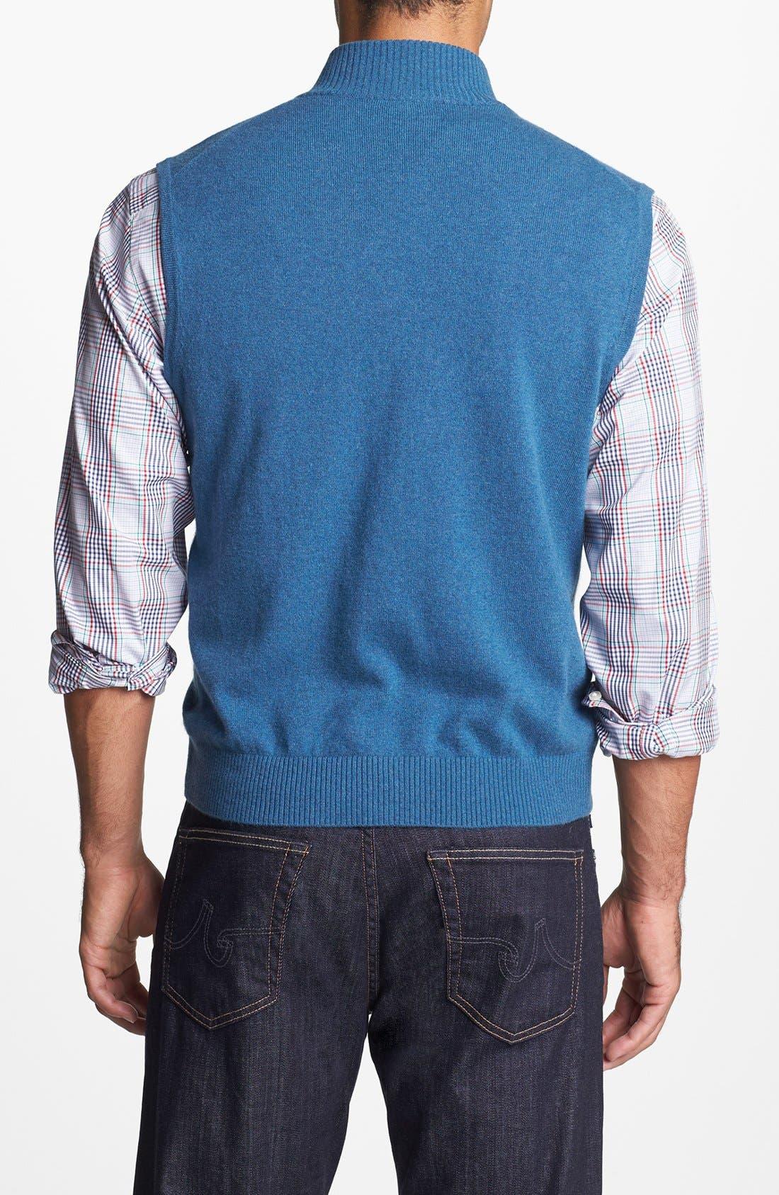 Alternate Image 2  - Robert Talbott Quarter Zip Cashmere Vest