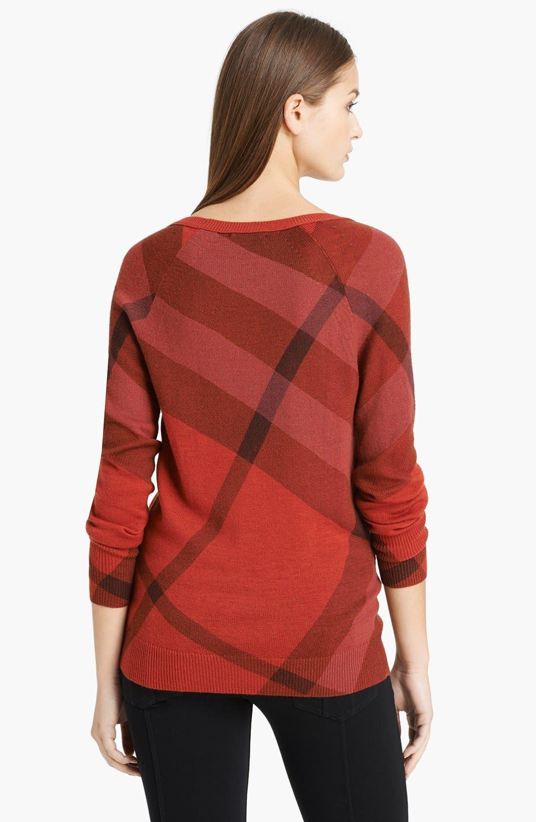 Alternate Image 2  - Burberry Brit Check Pattern Merino & Cashmere Sweater