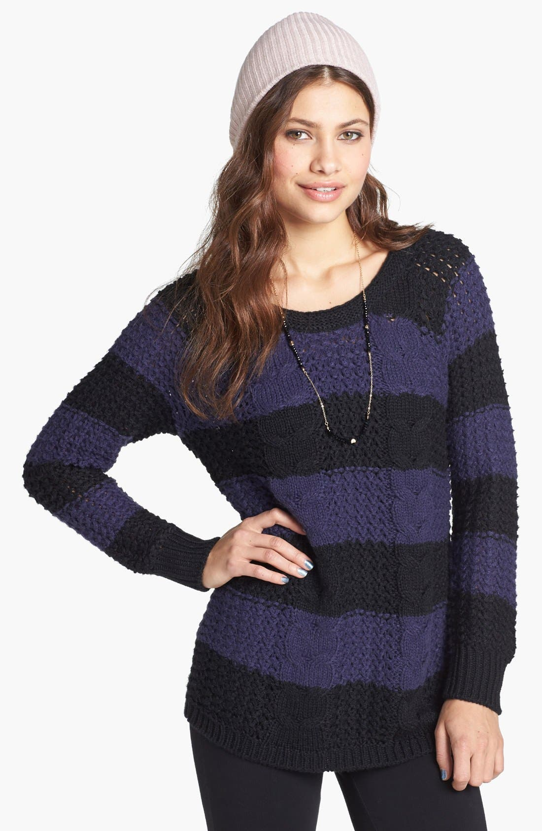 Alternate Image 1 Selected - Rubbish® Stripe Cabled Sweater (Juniors)