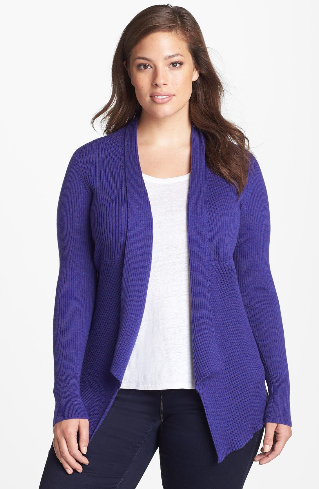 Alternate Image 1 Selected - Eileen Fisher Angle Front Shaped Cardigan (Plus-Size)