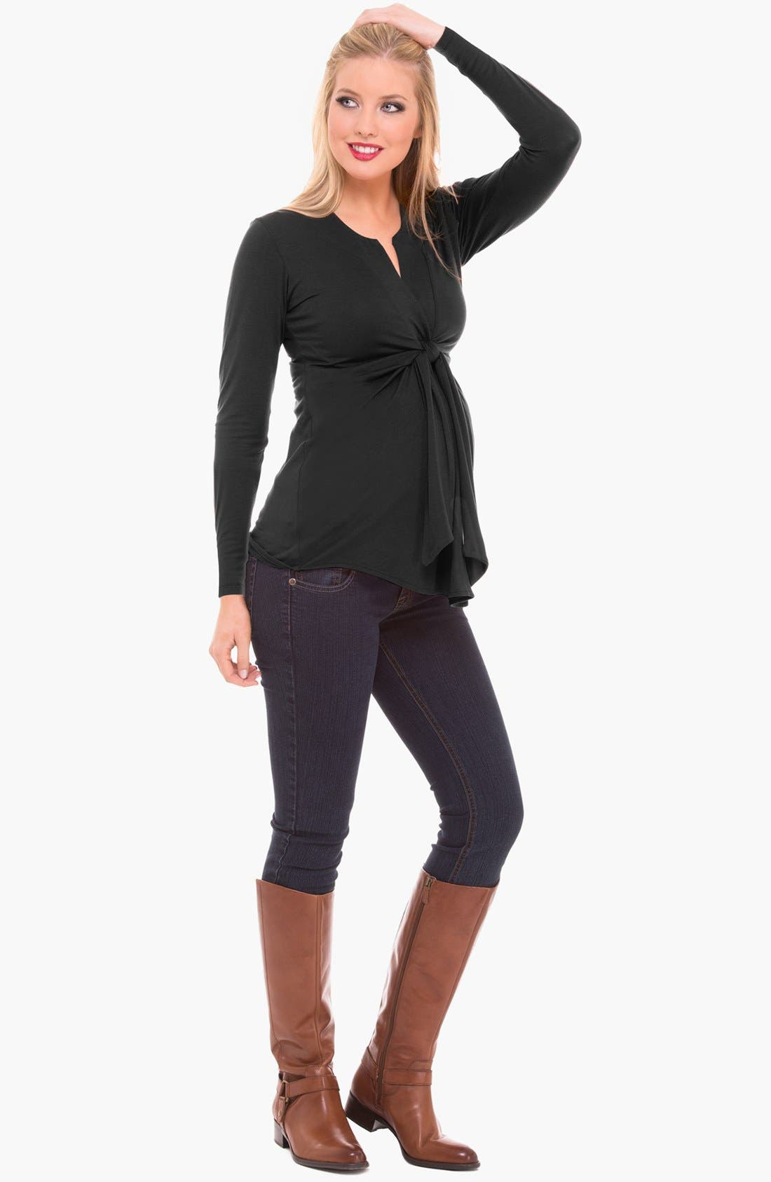 Alternate Image 1 Selected - Olian Tie Front Maternity Top