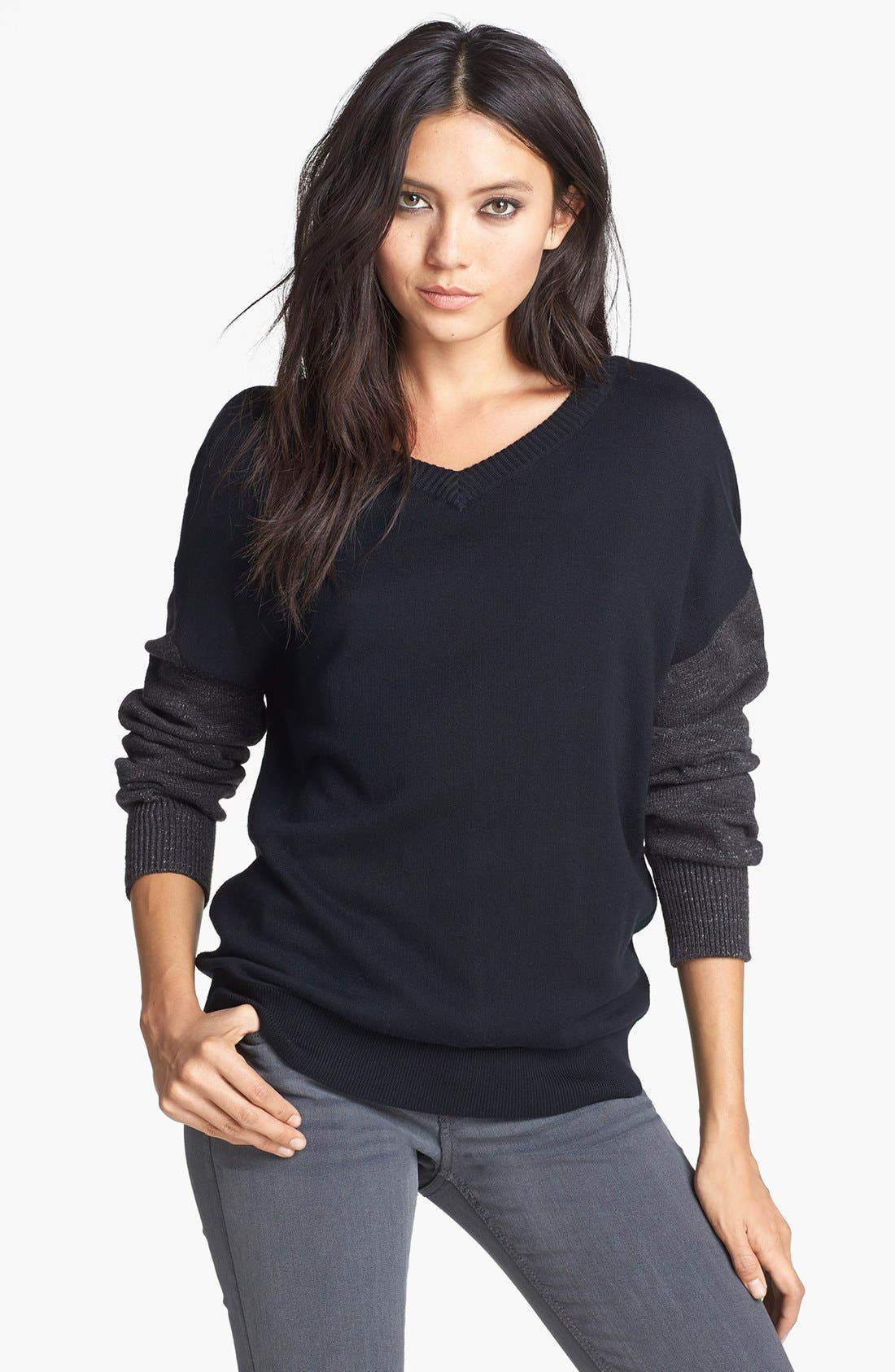 Alternate Image 1 Selected - Leith French Terry V-Neck Sweater