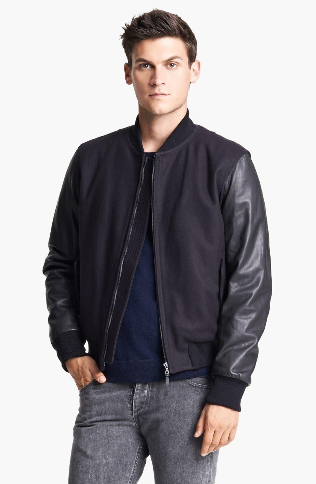 Main Image - rag & bone 'Bastion' Baseball Jacket with Leather Sleeves