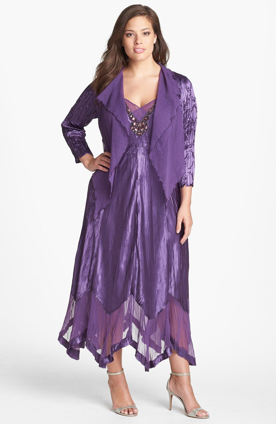 Main Image - Komarov Chiffon Trim Charmeuse Dress & Jacket (Plus Size)