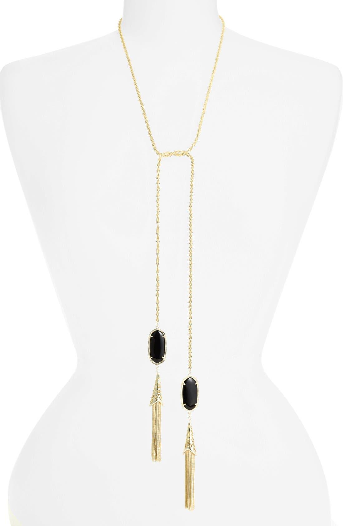 Alternate Image 1 Selected - Kendra Scott 'Megan' Oval Stone & Fringe Chain Necklace