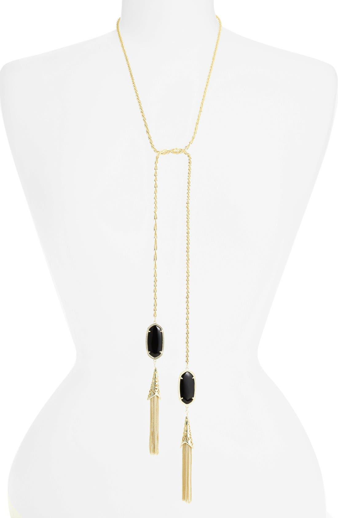 Main Image - Kendra Scott 'Megan' Oval Stone & Fringe Chain Necklace