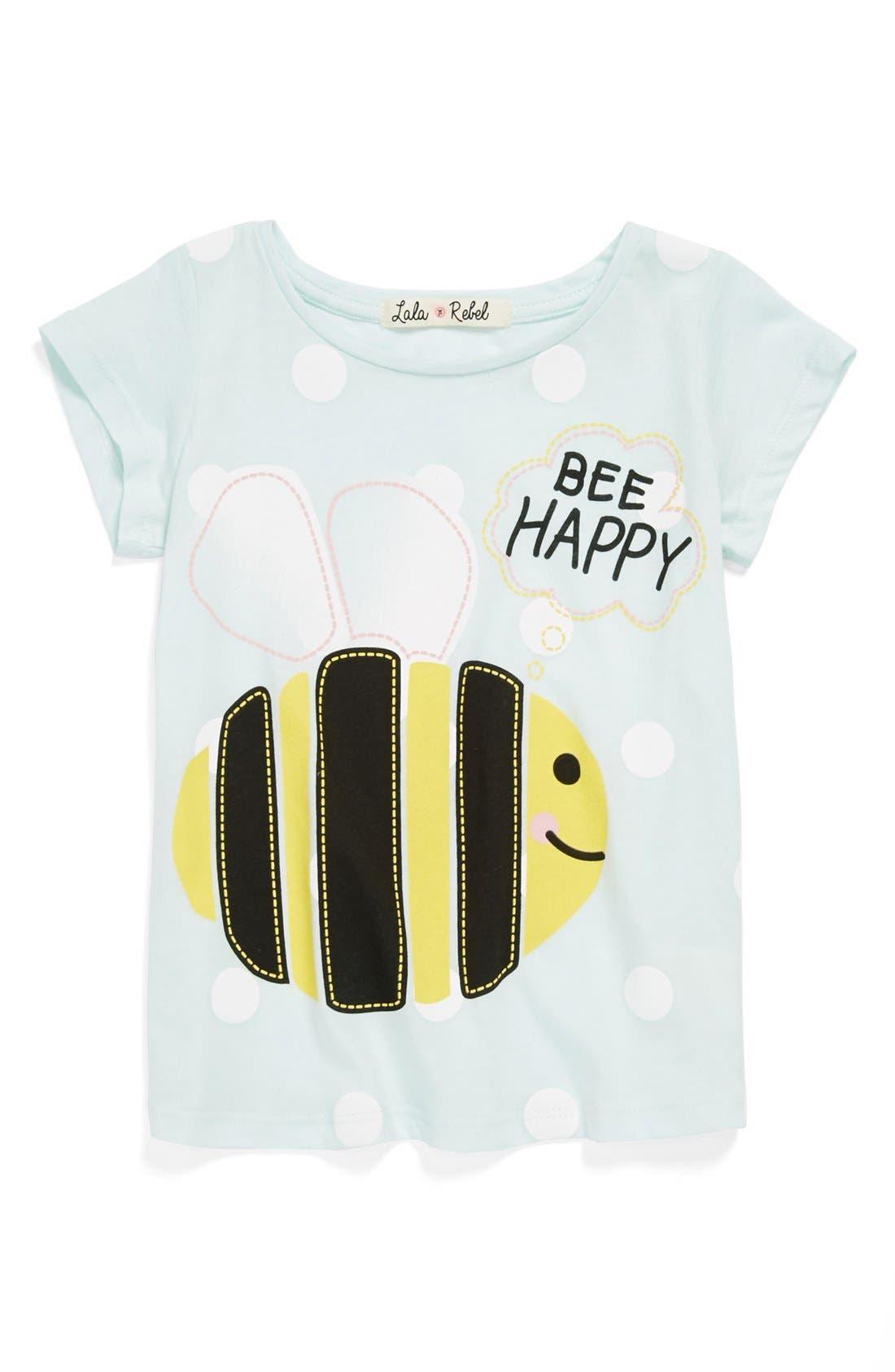 Alternate Image 1 Selected - Lala Rebel 'Bee Happy' Tee (Toddler Girls)