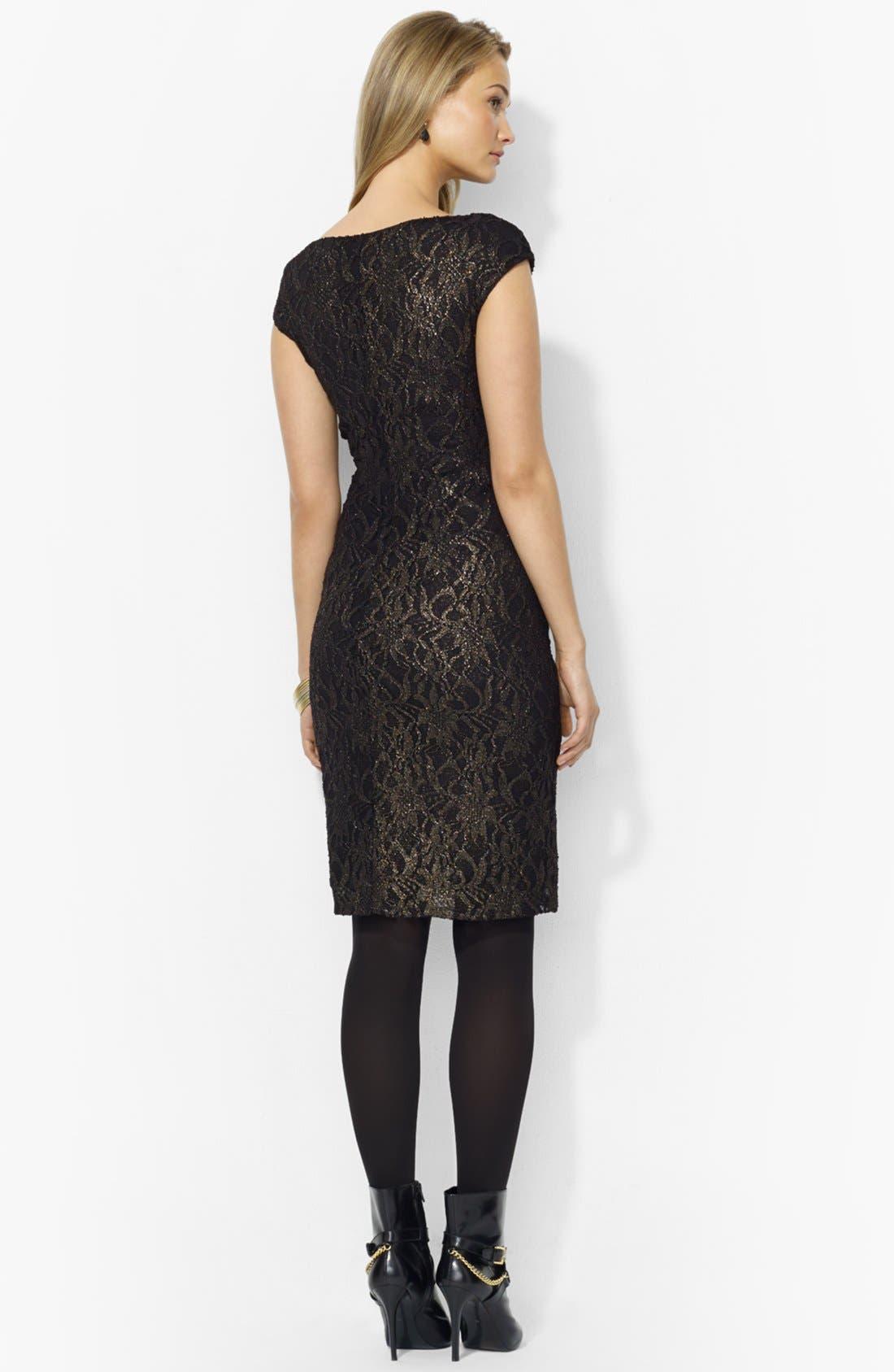 Alternate Image 2  - Lauren Ralph Lauren Metallic Lace Sheath Dress