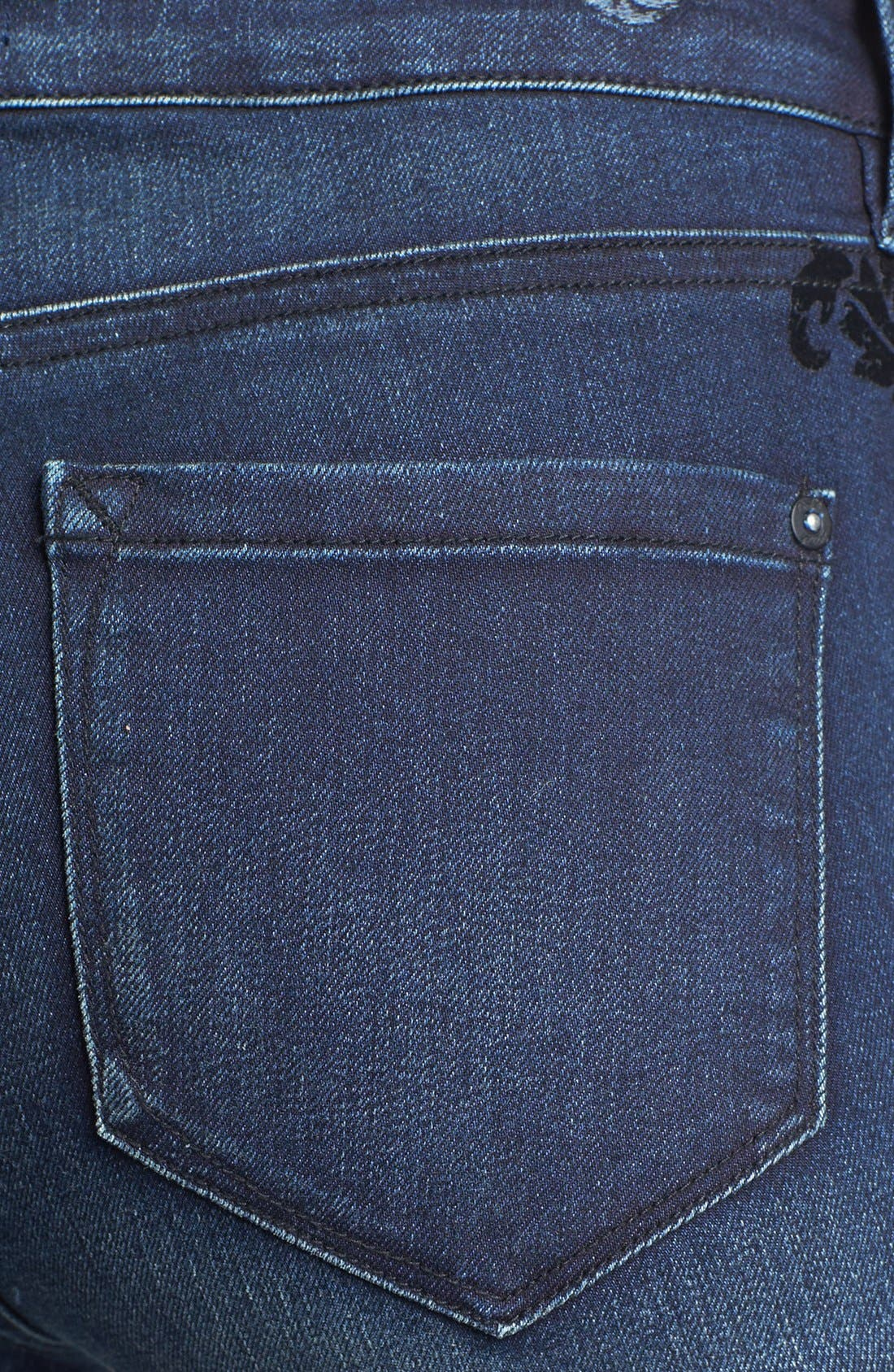 Alternate Image 3  - kensie 'Ankle Biter' Flocked Skinny Jeans (Midnight)