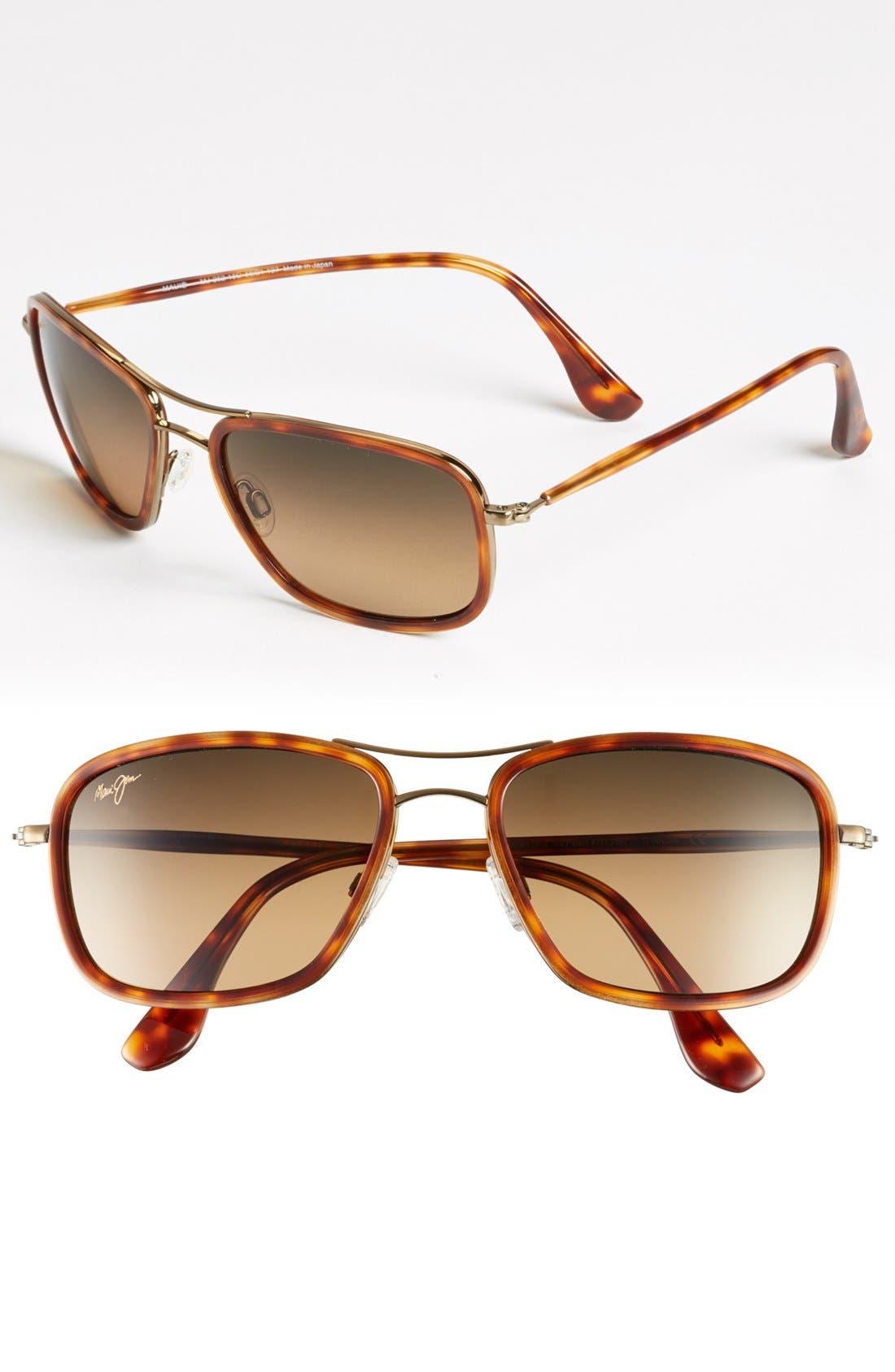 Alternate Image 1 Selected - Maui Jim 'Hawaiian Time' 56mm Polarized Aviator Sunglasses