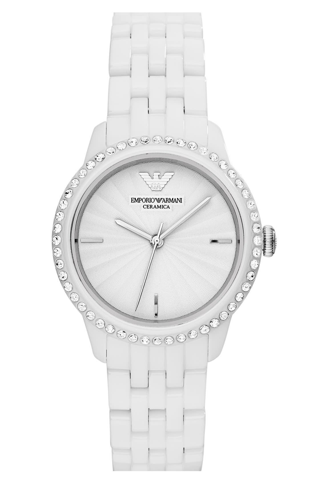 Alternate Image 1 Selected - Emporio Armani Crystal Bezel Ceramic Bracelet Watch, 33mm