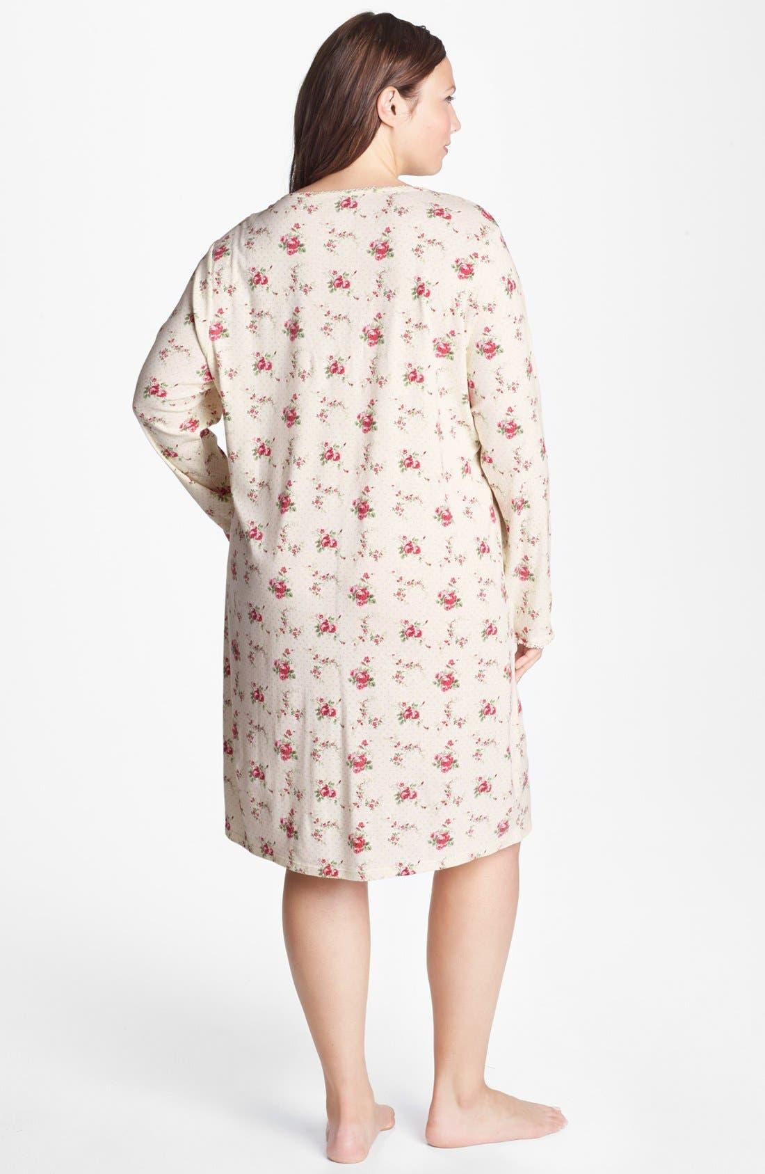 Alternate Image 2  - Lauren Ralph Lauren Lace Trim Sleep Shirt (Plus Size)