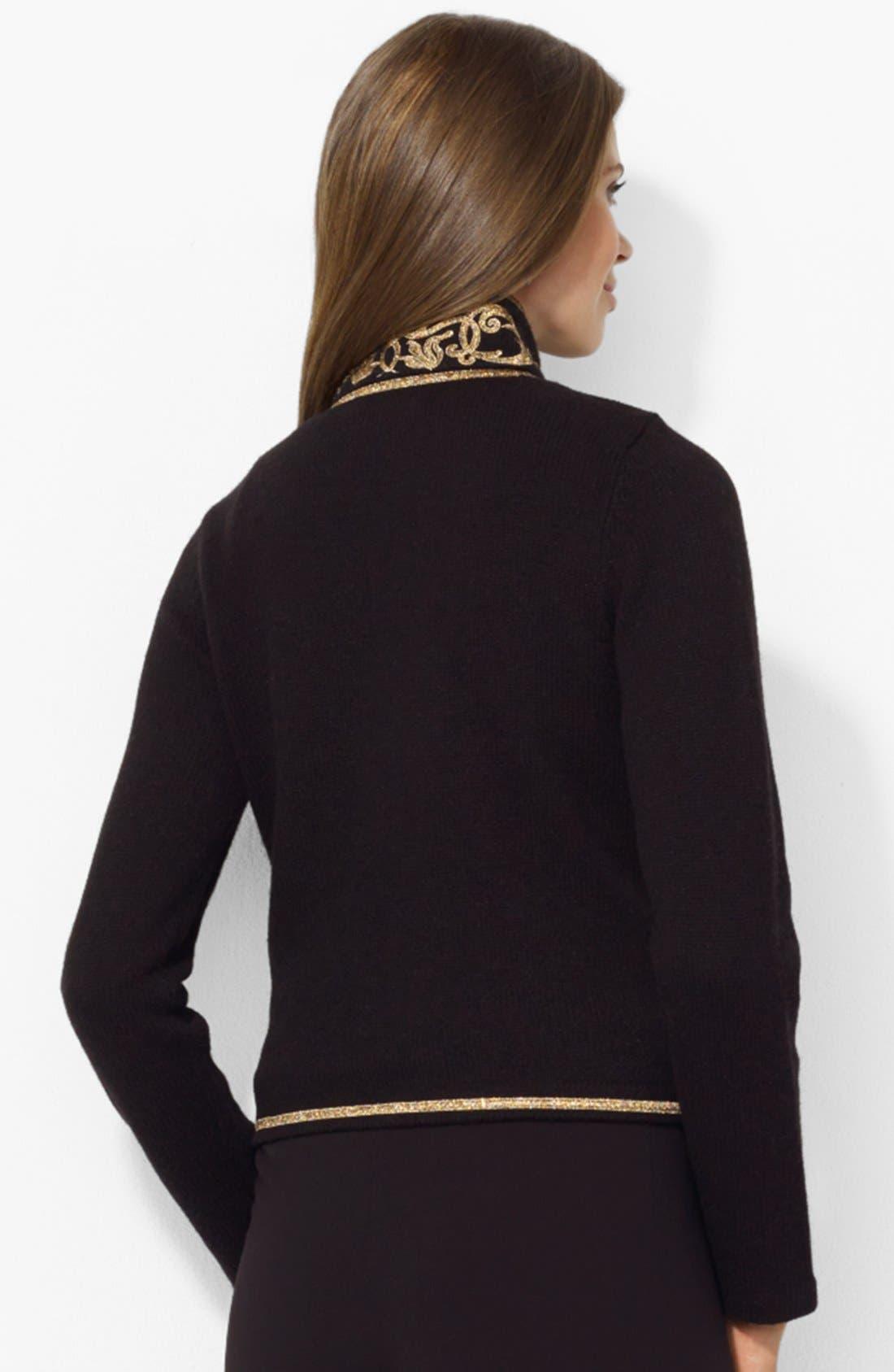 Alternate Image 2  - Lauren Ralph Lauren Embroidered Collar Cardigan