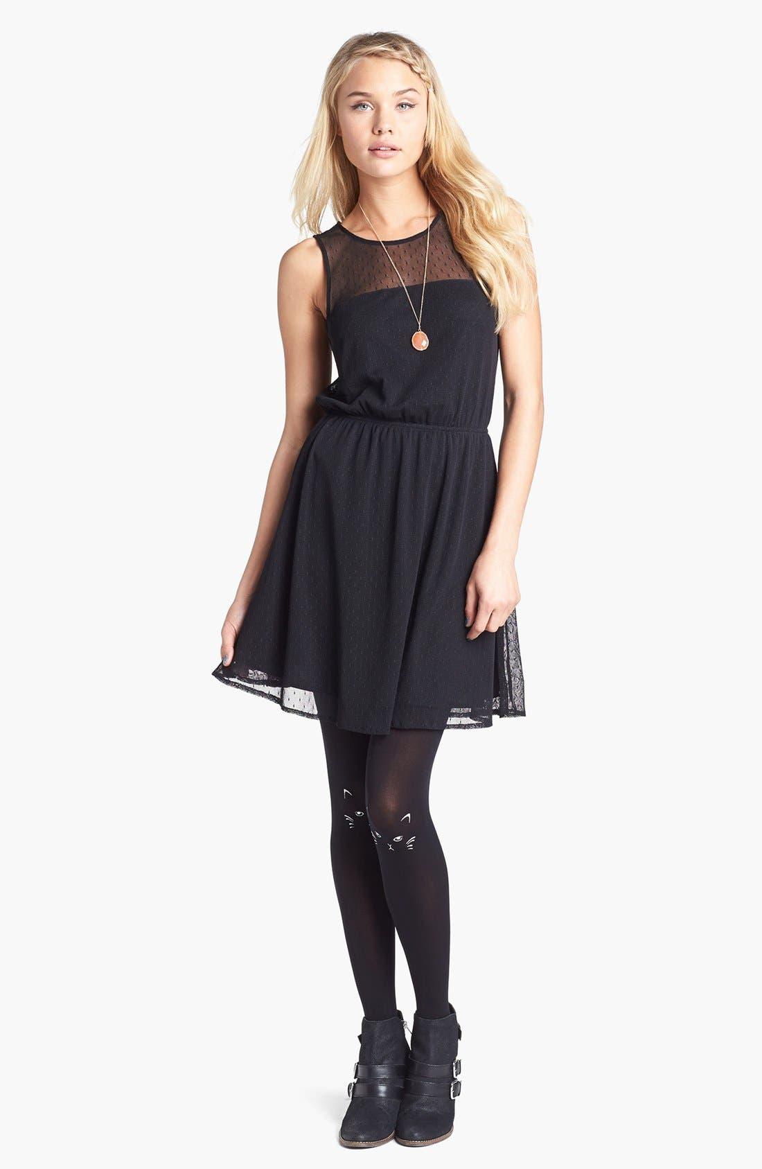 Alternate Image 1 Selected - Frenchi® Sheer Back Swiss Dot Skater Dress (Juniors)