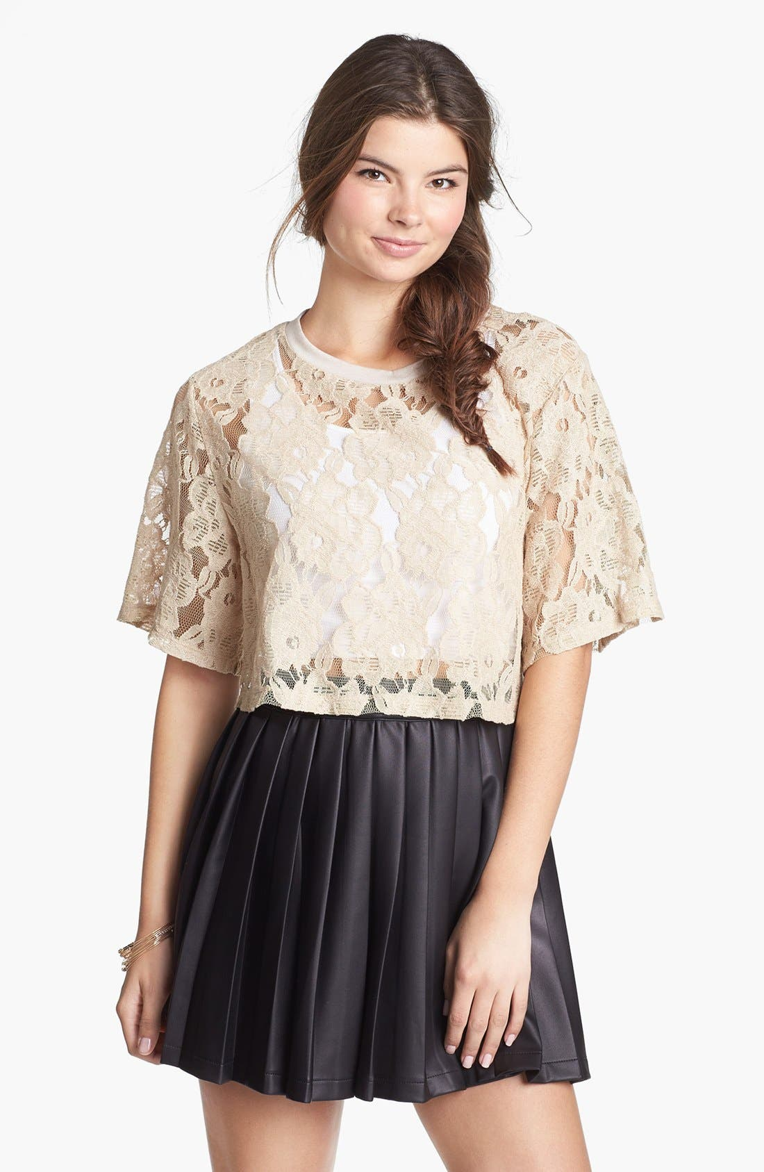 Alternate Image 1 Selected - Lily White Lace Crop Top (Juniors) (Online Only)