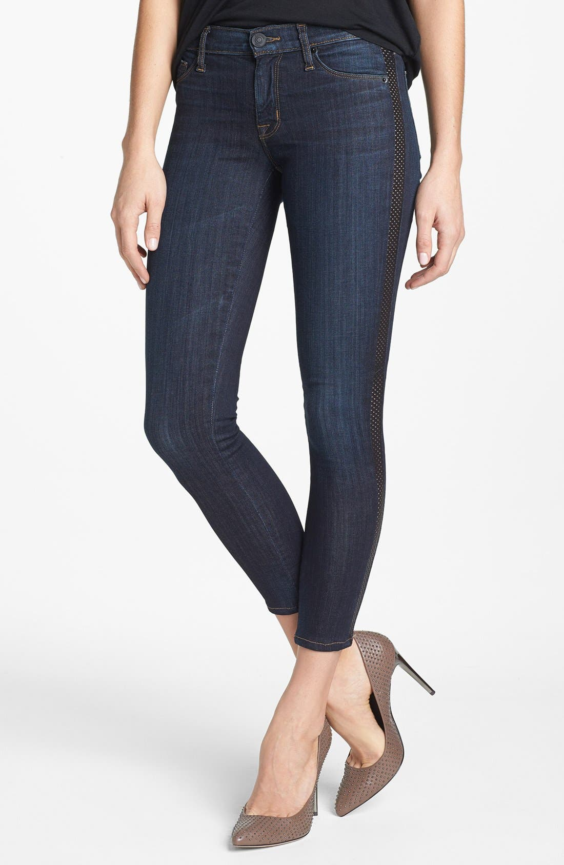 Alternate Image 1 Selected - Hudson Jeans 'Ava' Leather Tuxedo Stripe Crop Skinny Jeans (Shirley)