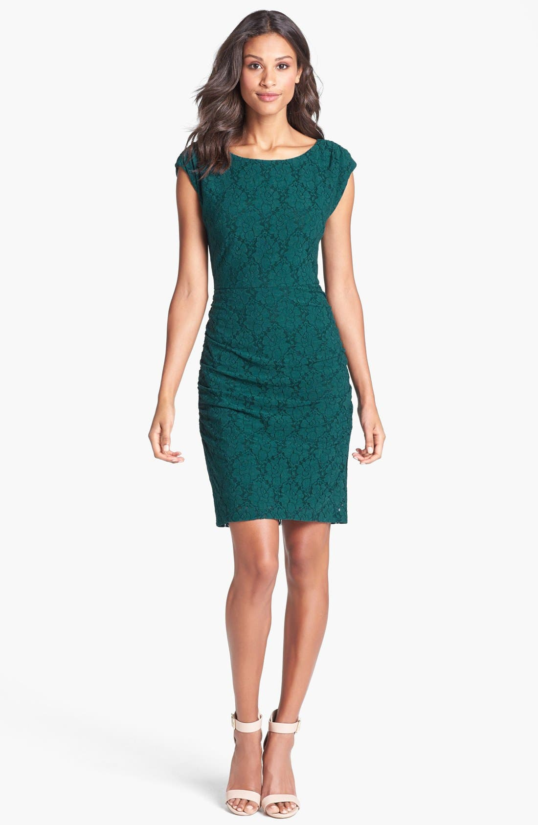 Alternate Image 1 Selected - Laundry by Shelli Segal Cap Sleeve Shirred Lace Dress