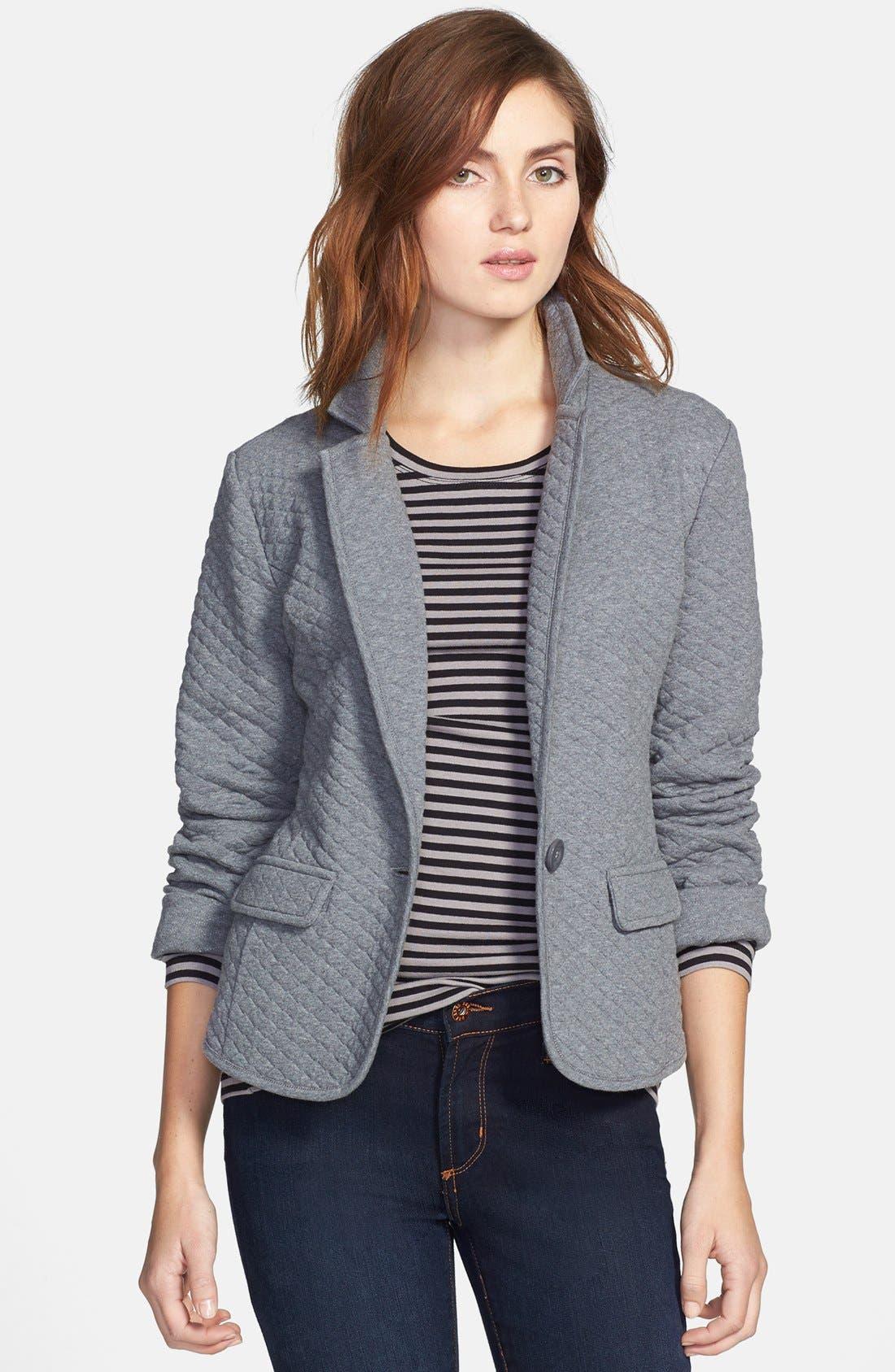Main Image - Caslon® Quilted Cotton Blend Knit Blazer (Regular & Petite)