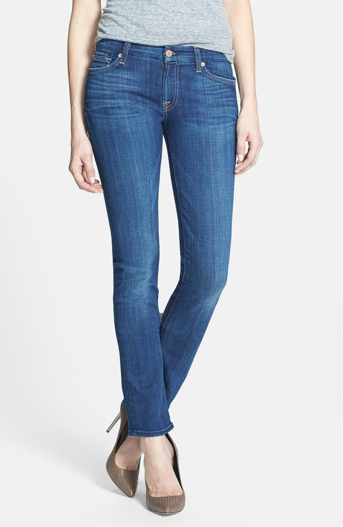 Alternate Image 1 Selected - 7 For All Mankind® 'Kimmie' Straight Leg Jeans (Warm Medium Blue)