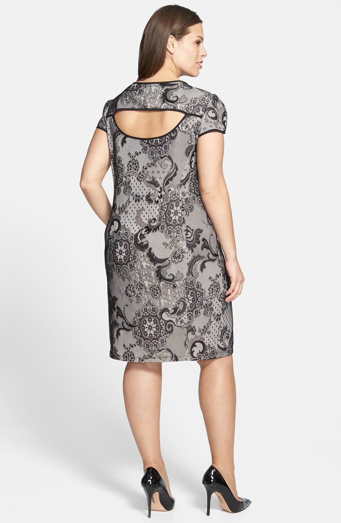Alternate Image 2  - ABS by Allen Schwartz Cutout Lace Sheath Dress (Plus Size)