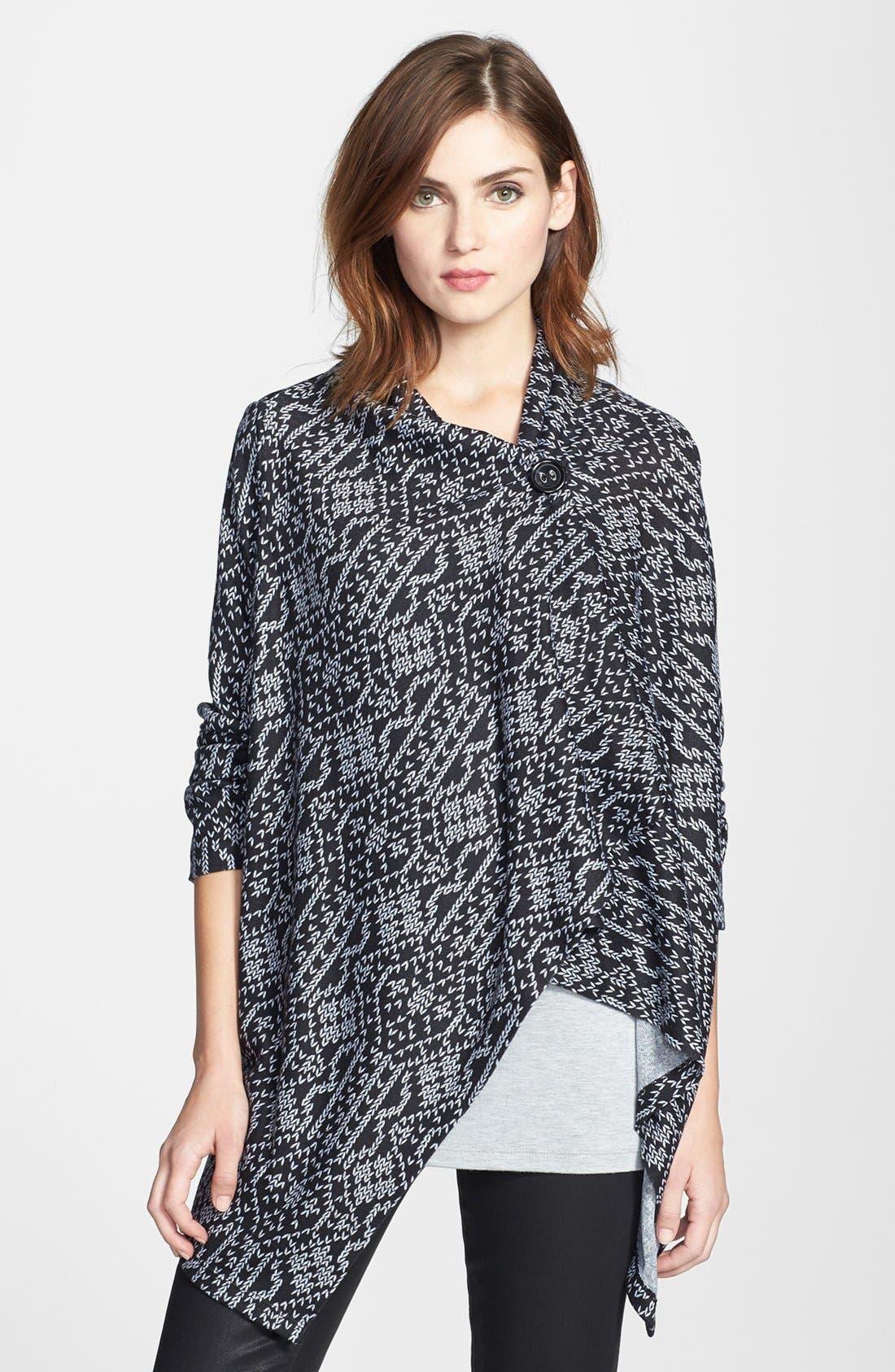 Main Image - Bobeau Print Asymmetrical Wrap Cardigan