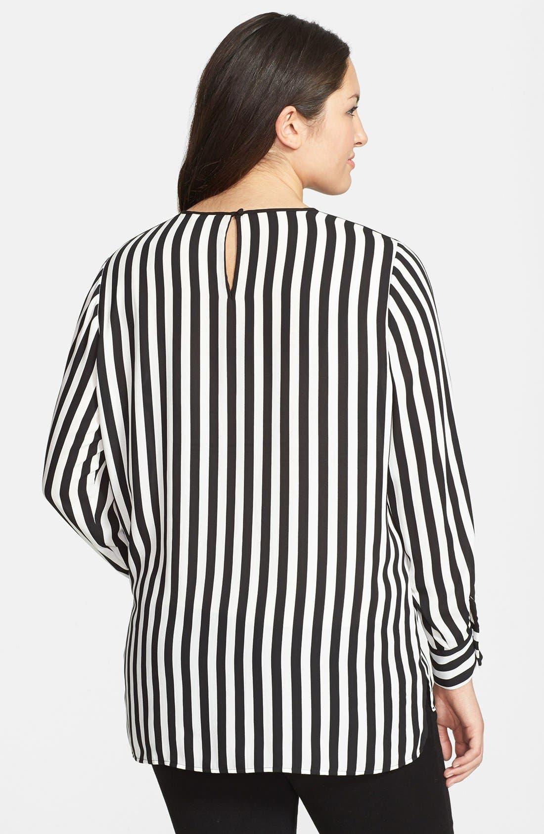 Alternate Image 2  - Vince Camuto Seamline Stripe Shirttail Blouse (Plus Size)