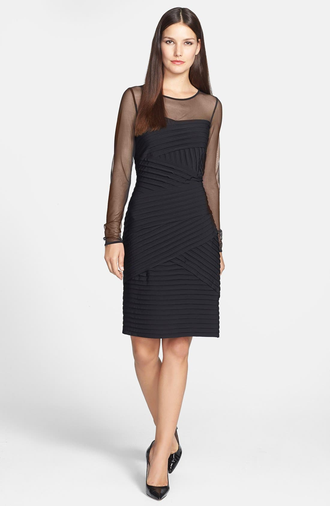 Alternate Image 1 Selected - Calvin Klein Mesh Yoke & Pleat Jersey Sheath Dress
