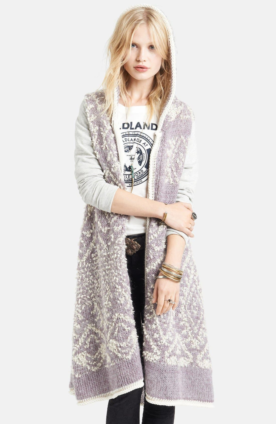 Alternate Image 1 Selected - Free People 'White Moon' Hooded Pattern Cardigan