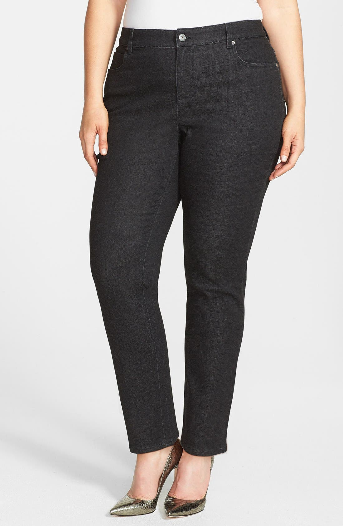 Alternate Image 1 Selected - Two by Vince Camuto Skinny Jeans (Black Denim) (Plus Size)