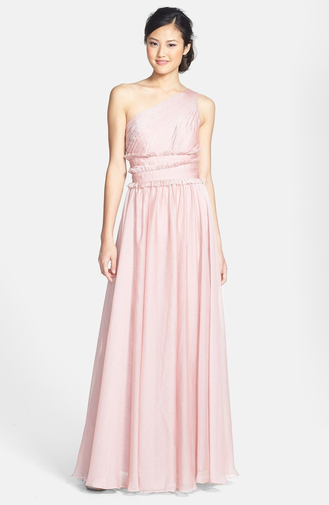 Main Image - ML Monique Lhuillier Bridesmaids One-Shoulder Chiffon Gown (Nordstrom Exclusive)