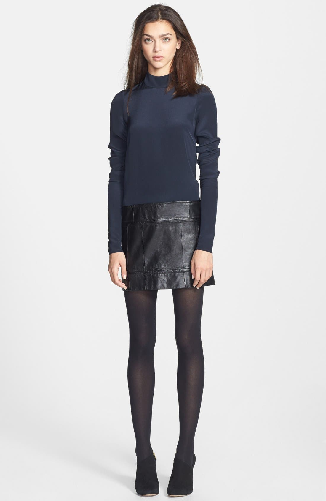 Alternate Image 1 Selected - Theory 'Karlyn' Silk & Leather Shift Dress