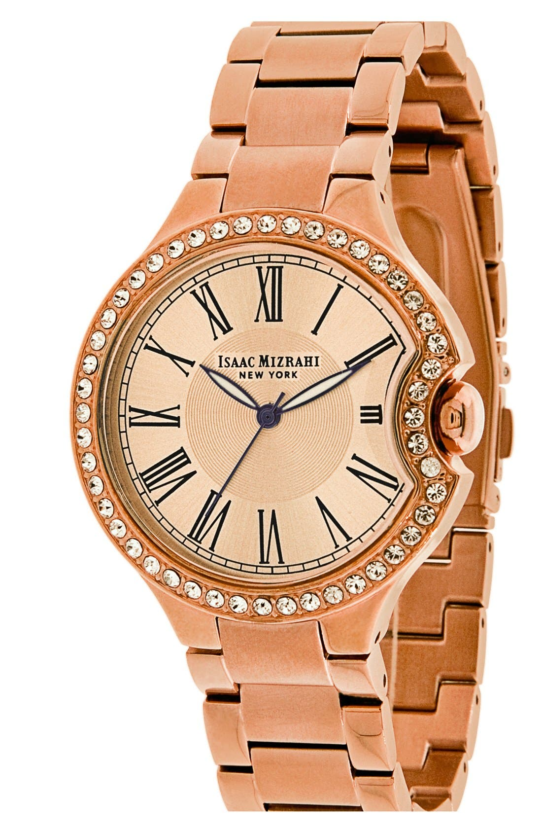 Main Image - Isaac Mizrahi New York Round Roman Numeral Bracelet Watch, 38mm