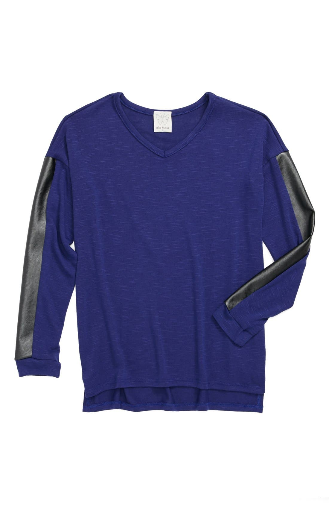 Alternate Image 1 Selected - Ella Moss Faux Leather Panel Long Sleeve Top (Big Girls)