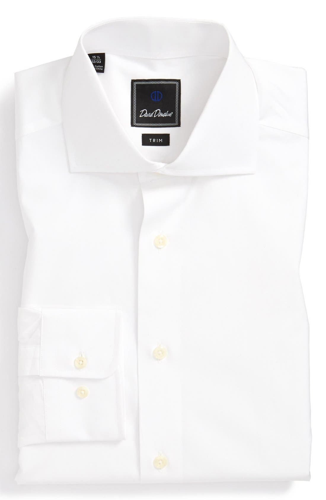 Main Image - David Donahue Broadcloth Trim Fit Dress Shirt