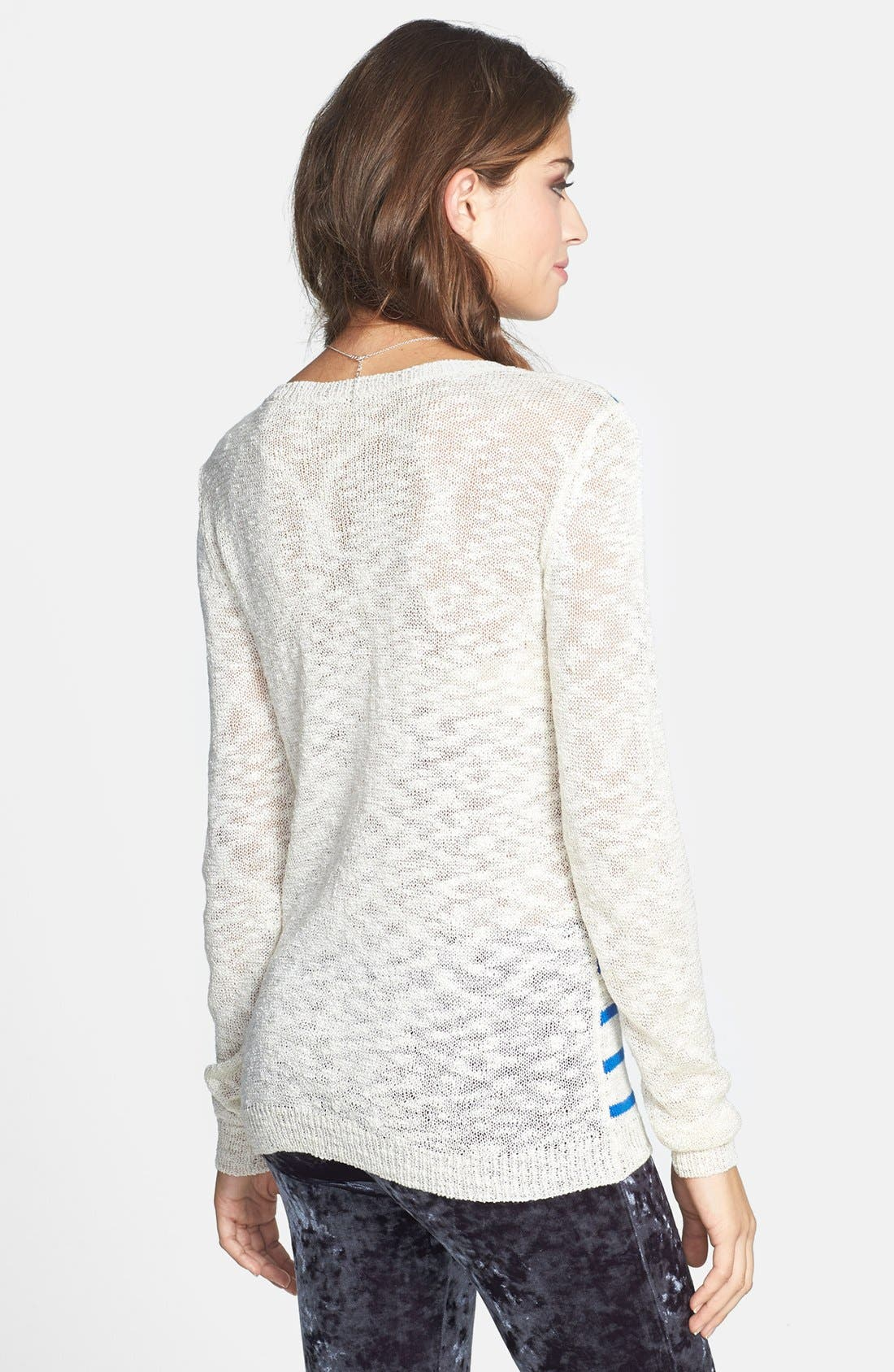 Alternate Image 2  - Woven Heart Graphic Burnout Sweater (Juniors) (Online Only)