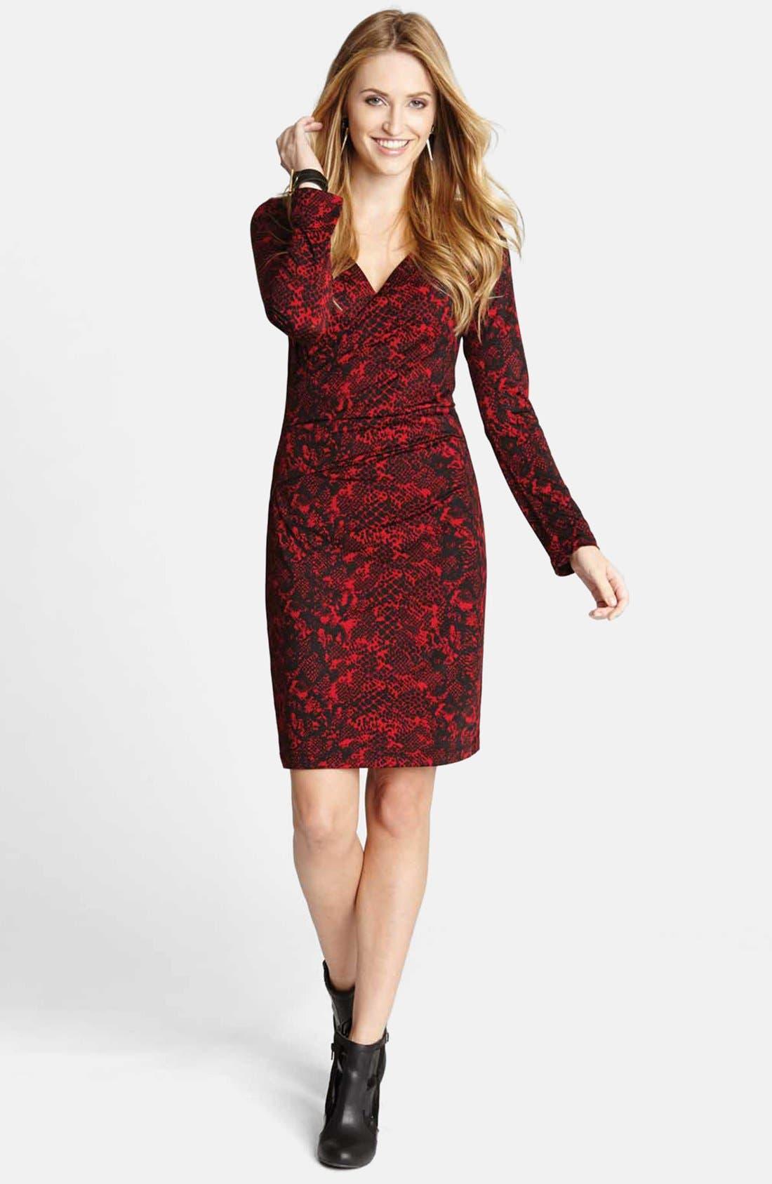 Main Image - Karen Kane Python Print Faux Wrap Dress
