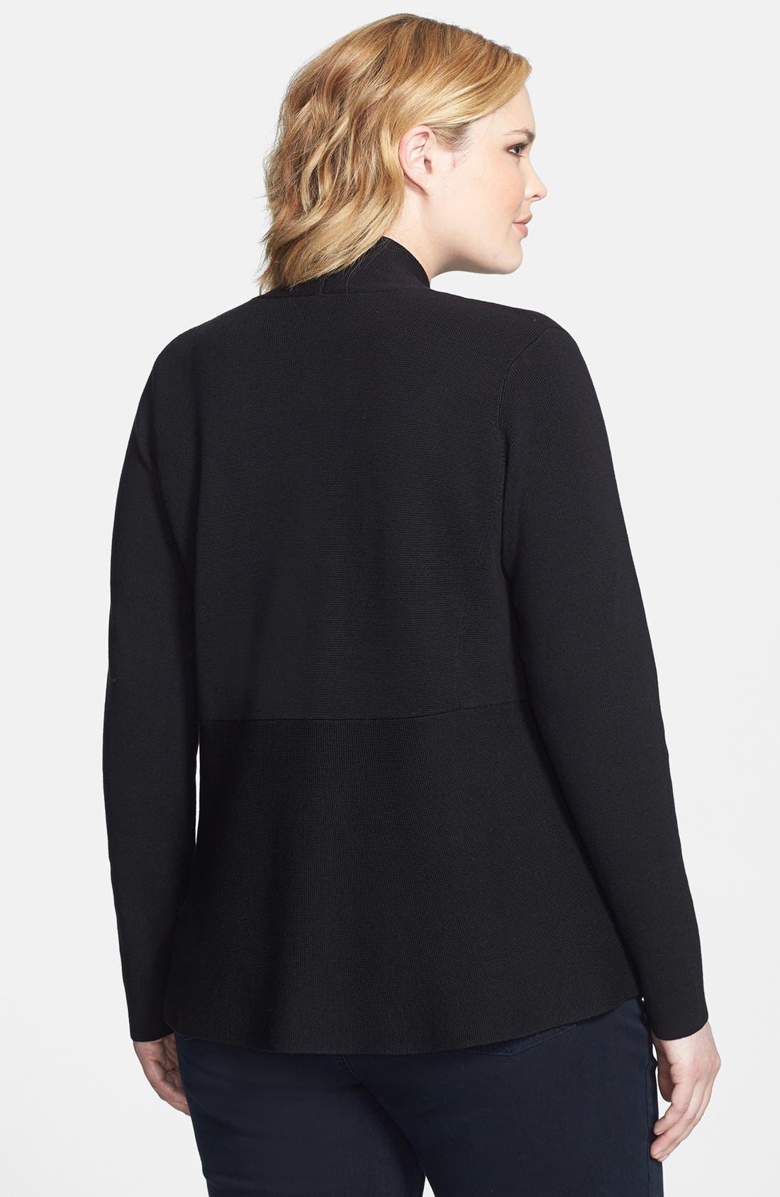 Alternate Image 2  - Eileen Fisher Angle Front Silk & Cotton Jacket (Plus Size)