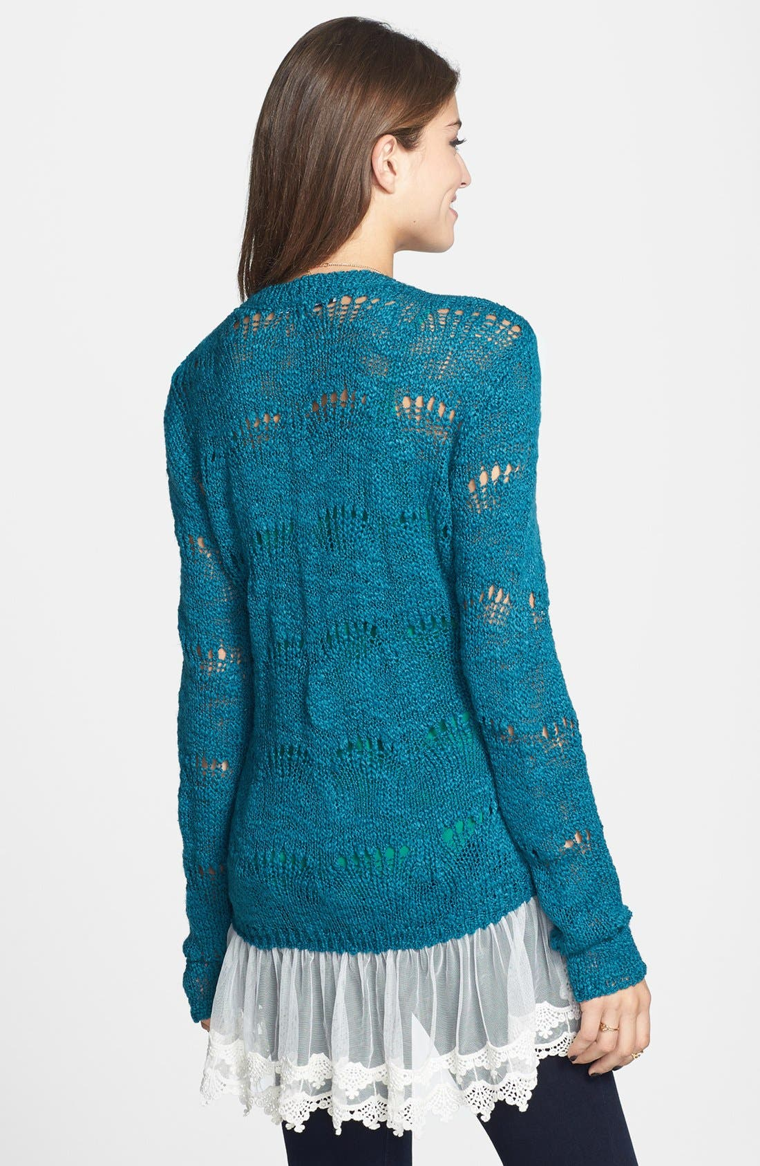 Alternate Image 2  - Cotton Emporium Scallop Stitch Lace Hem Sweater (Juniors)