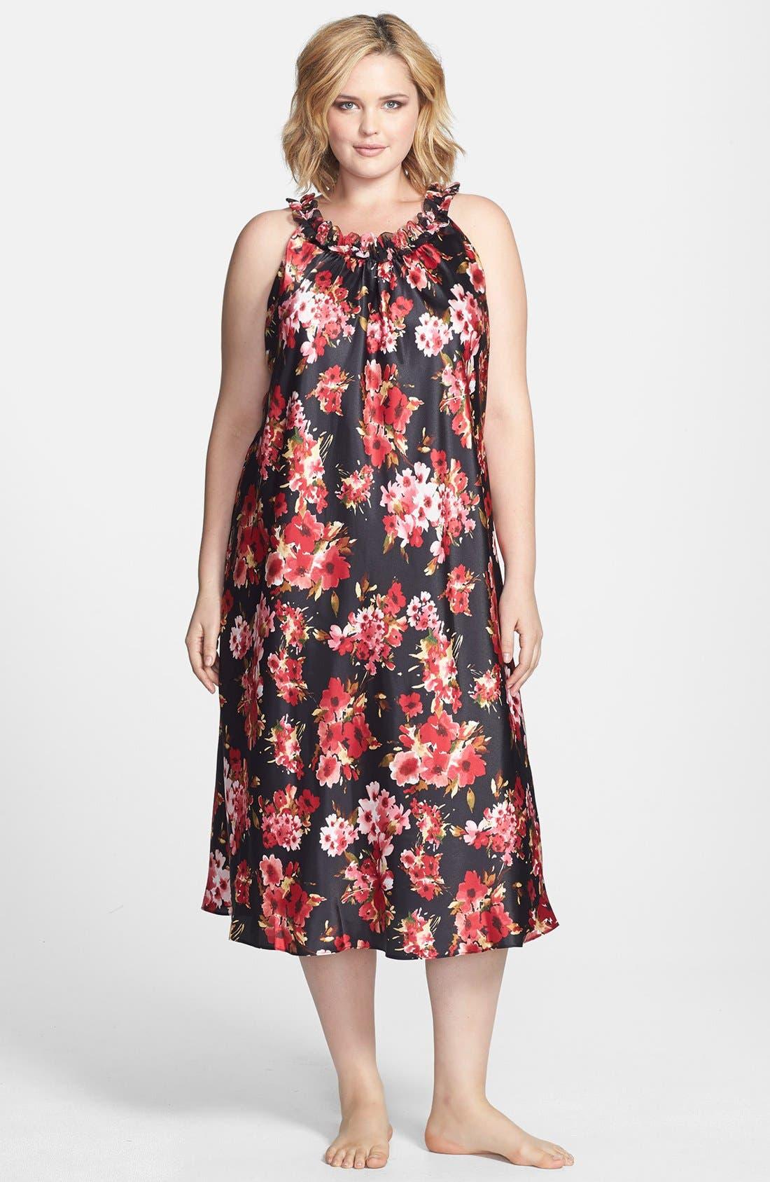 Alternate Image 1 Selected - Oscar de la Renta Sleepwear 'Holiday Bouquet' Long Nightgown (Plus Size)