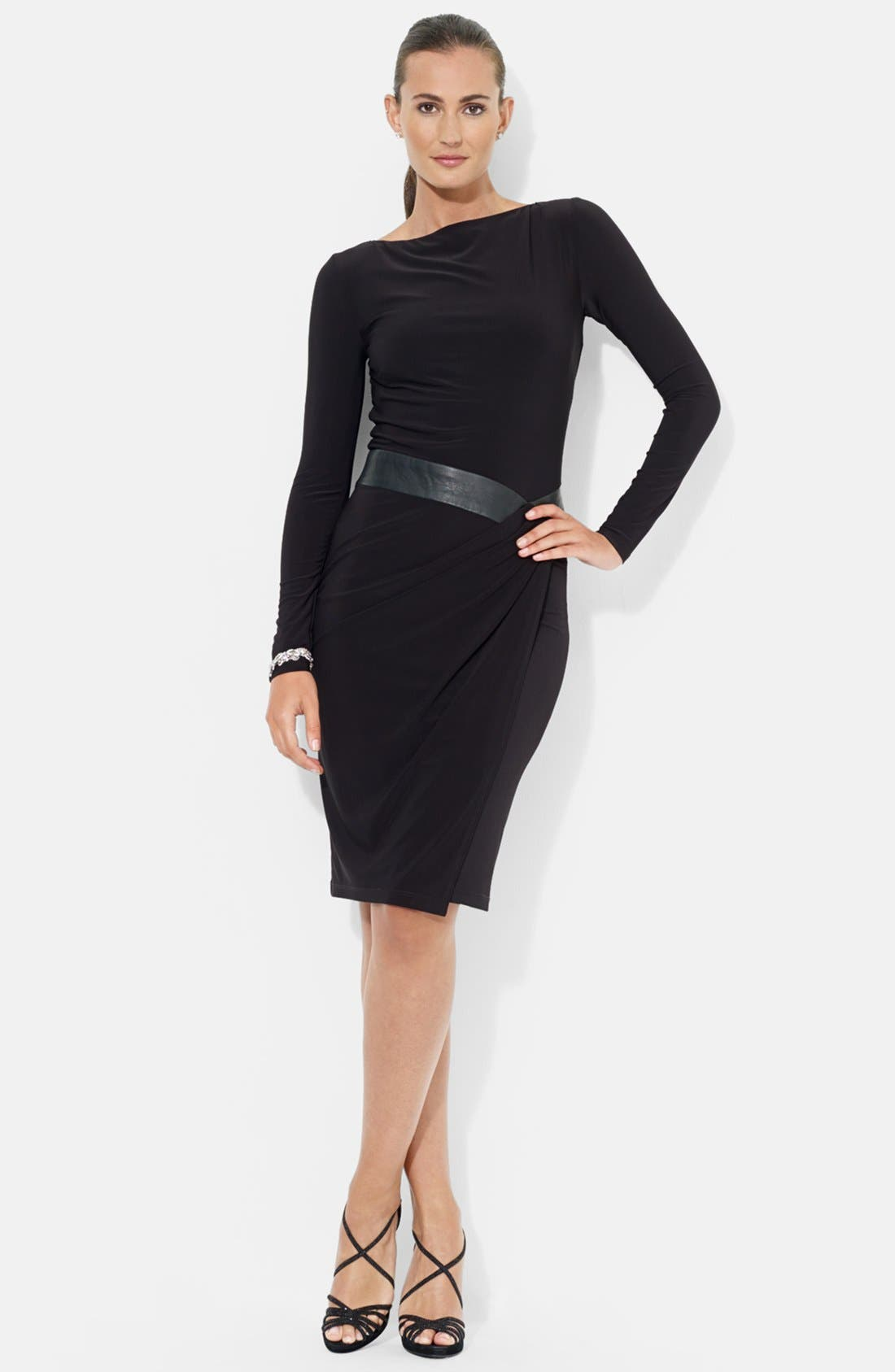 Main Image - Lauren Ralph Lauren Faux Leather Waistband Matte Jersey Dress
