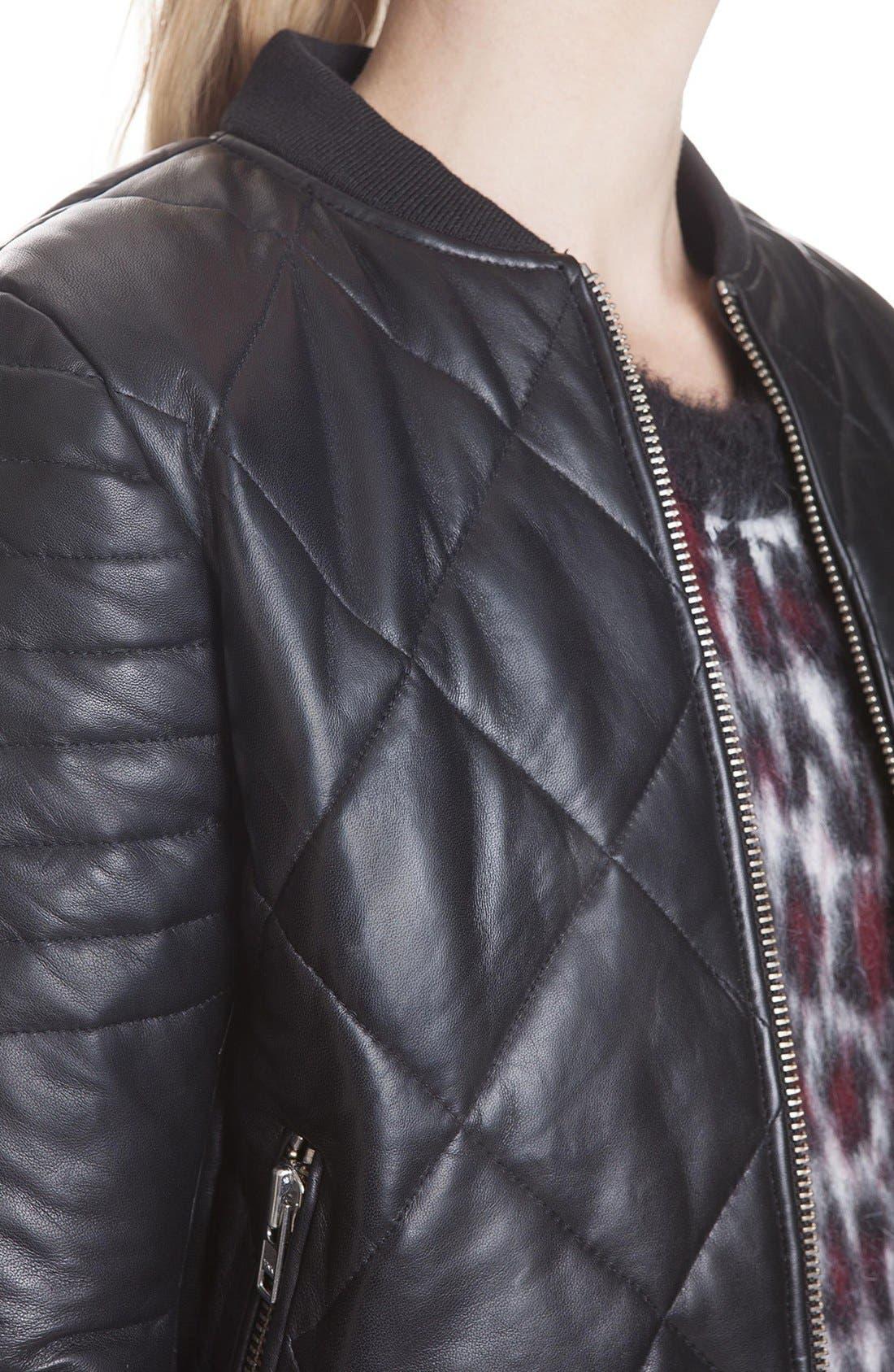 Alternate Image 3  - sandro 'Virage' Quilted Leather Bomber Jacket